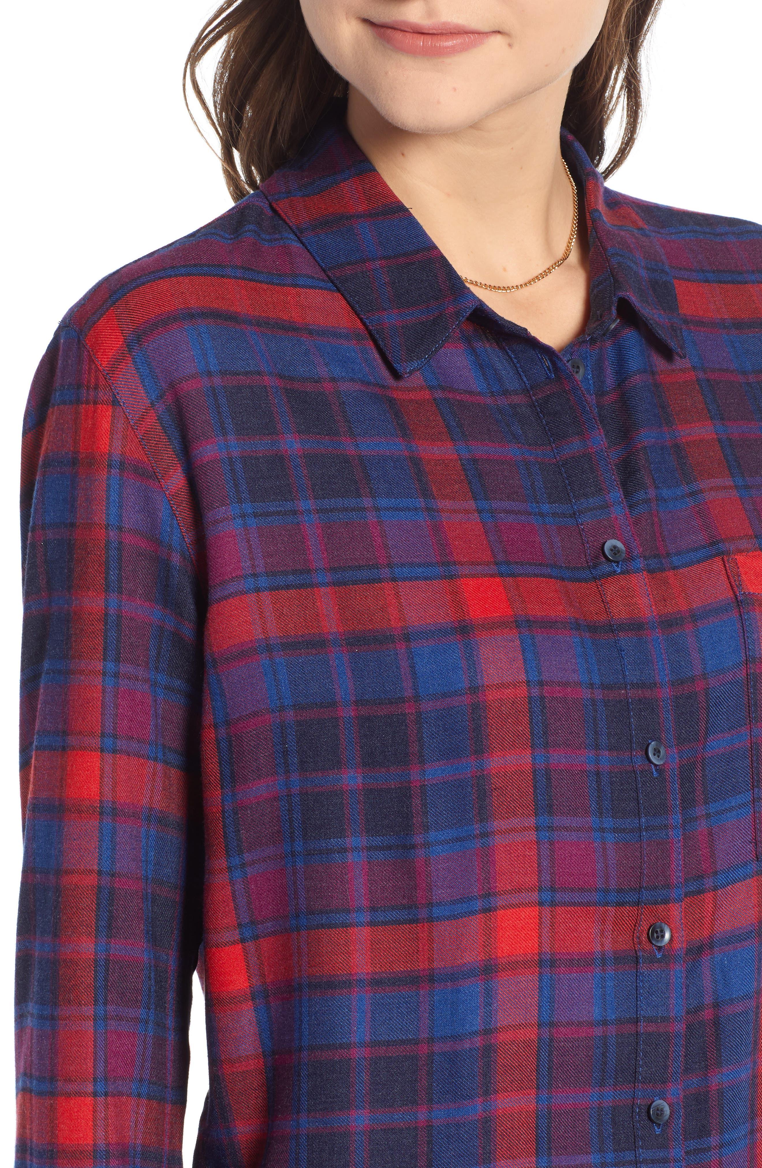 Plaid Boyfriend Shirt,                             Alternate thumbnail 4, color,                             BLUE SODALIGHT BEAMING PLAID