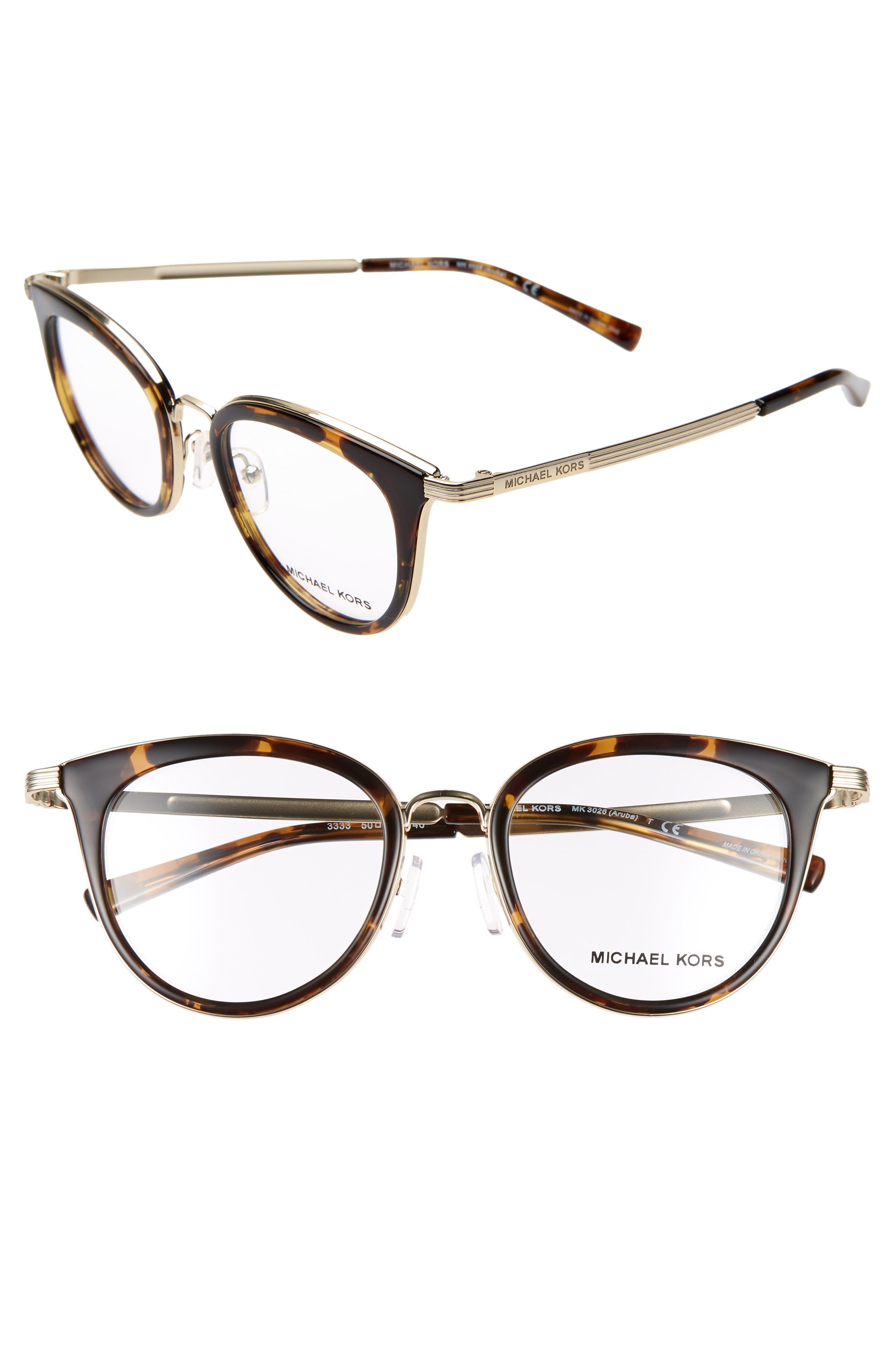 50mm Optical Glasses,                             Main thumbnail 1, color,                             HAVANA/ LITE GOLD