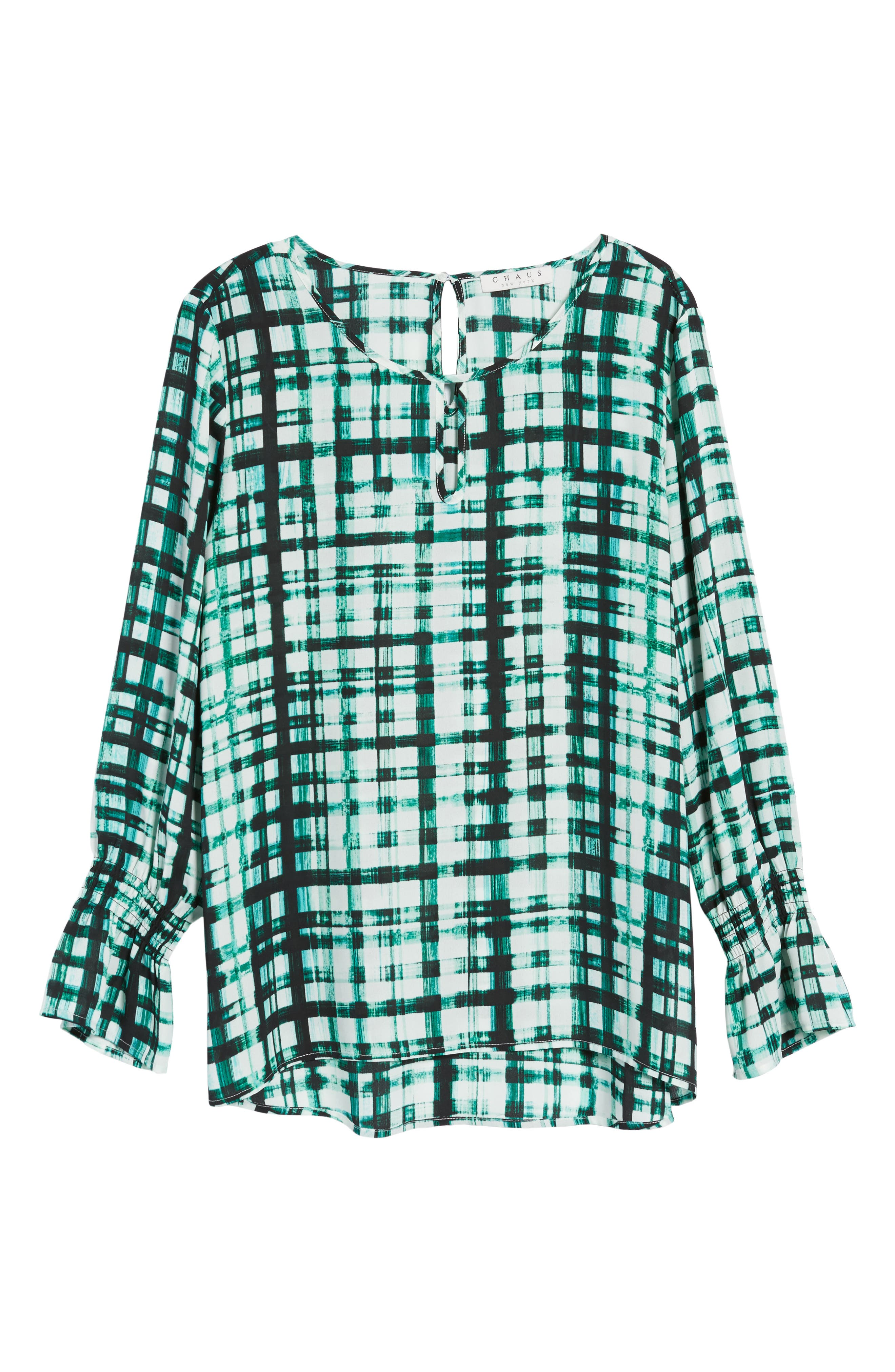 Plaid Ruffle Sleeve Blouse,                             Alternate thumbnail 6, color,