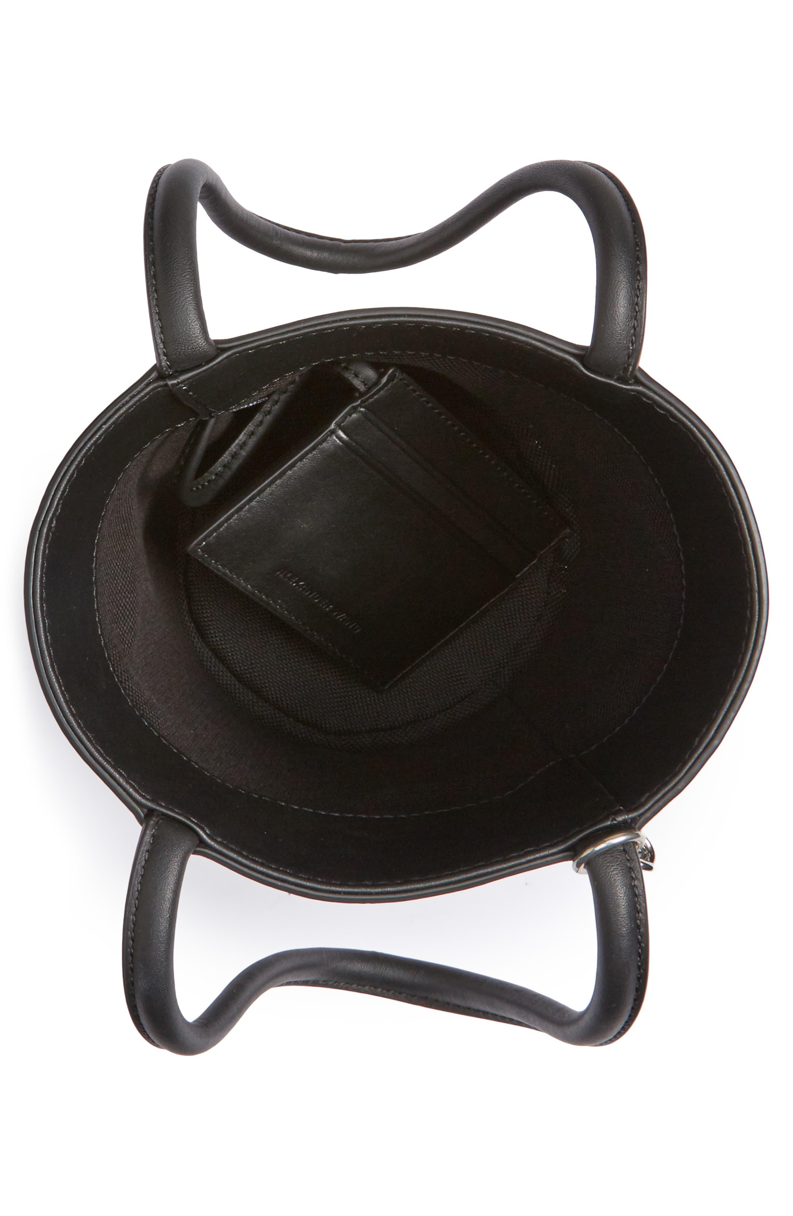Roxy Box Chain Leather Bucket Bag,                             Alternate thumbnail 4, color,                             001