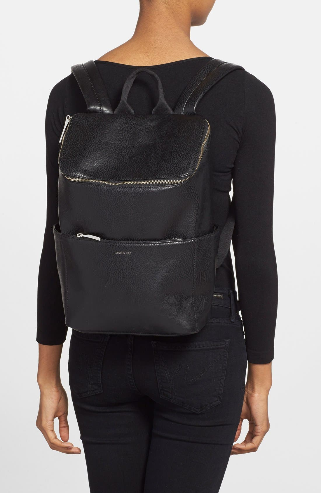 'Brave' Faux Leather Backpack,                             Alternate thumbnail 23, color,