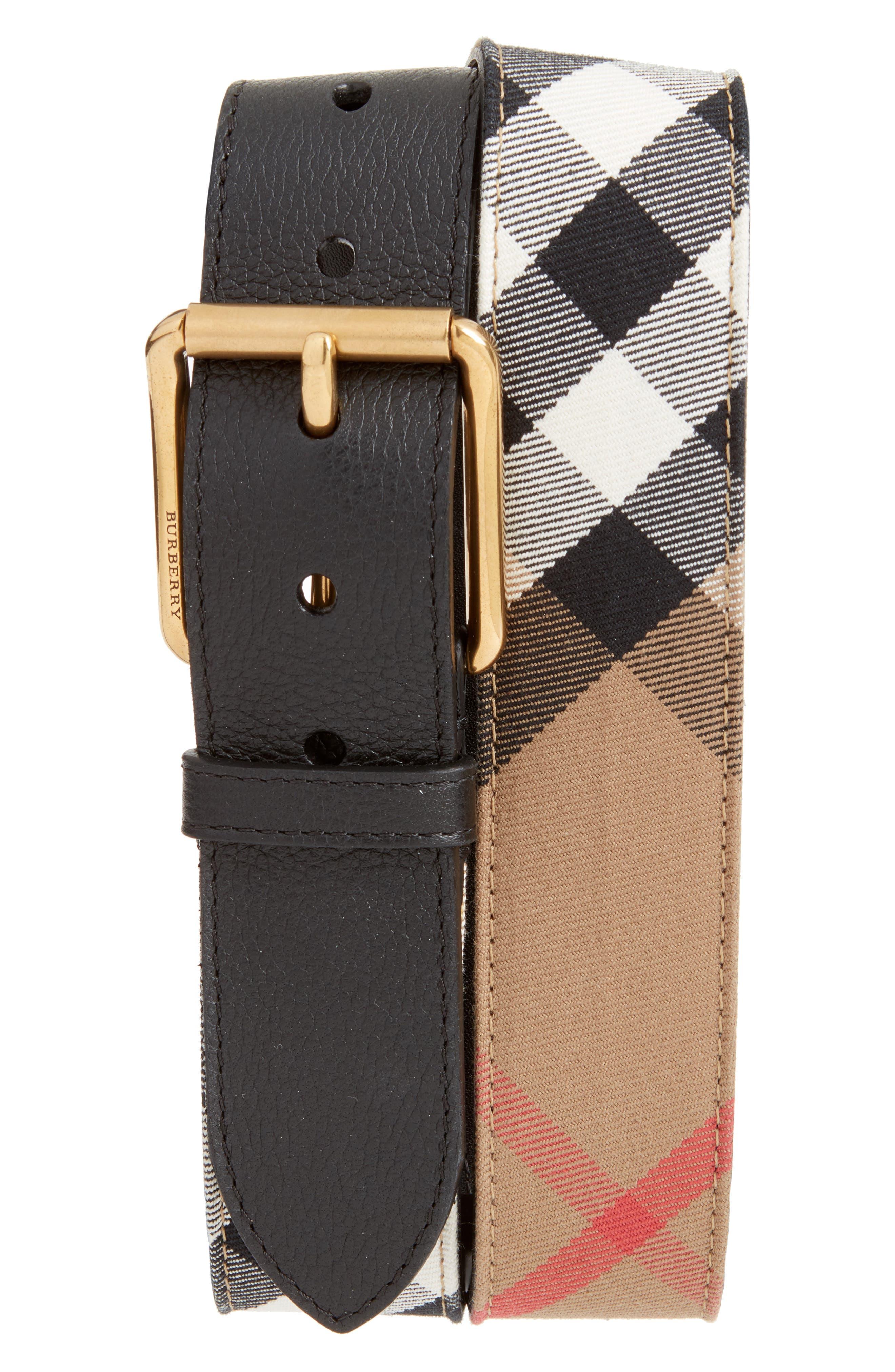 BURBERRY Mark House Check Belt, Main, color, 001