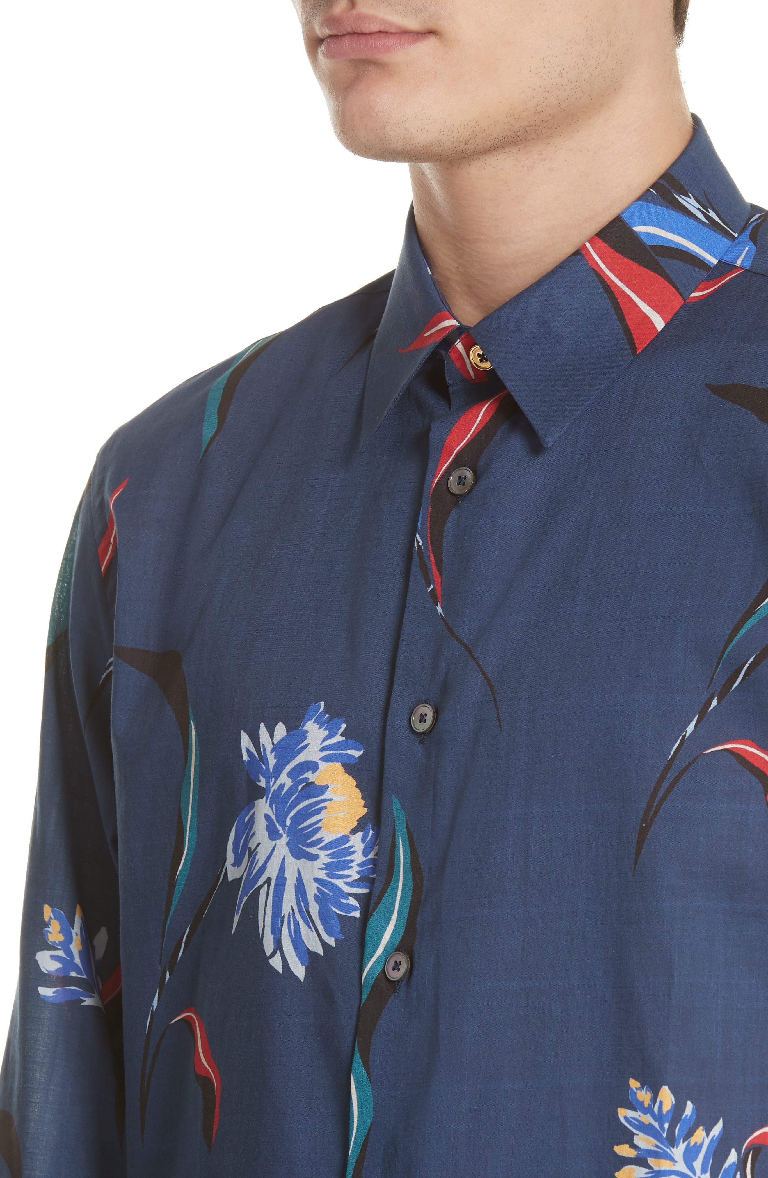 Floral Woven Shirt,                             Alternate thumbnail 4, color,                             415