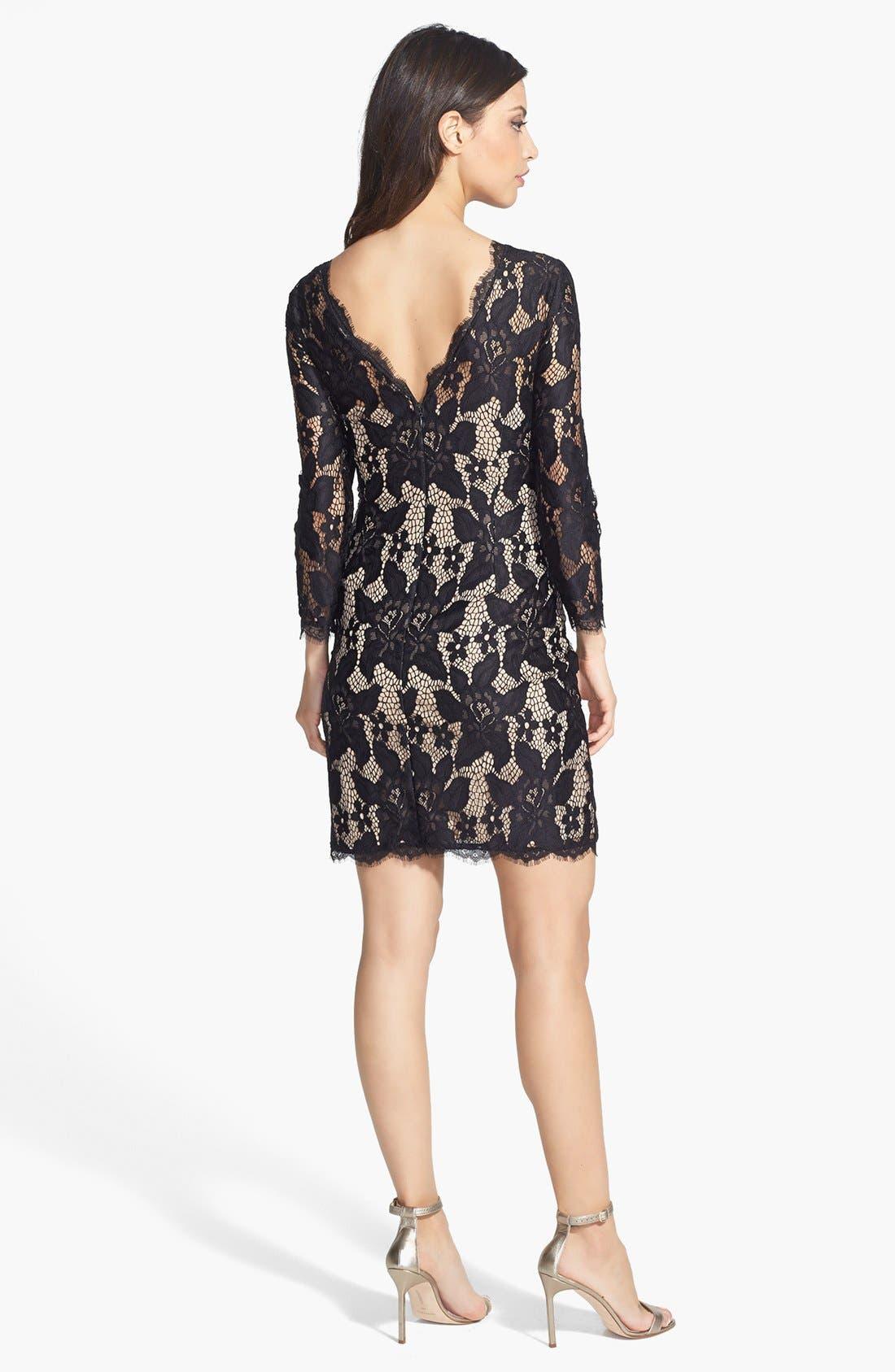 Long Sleeve Lace Cocktail Dress,                             Alternate thumbnail 2, color,                             001