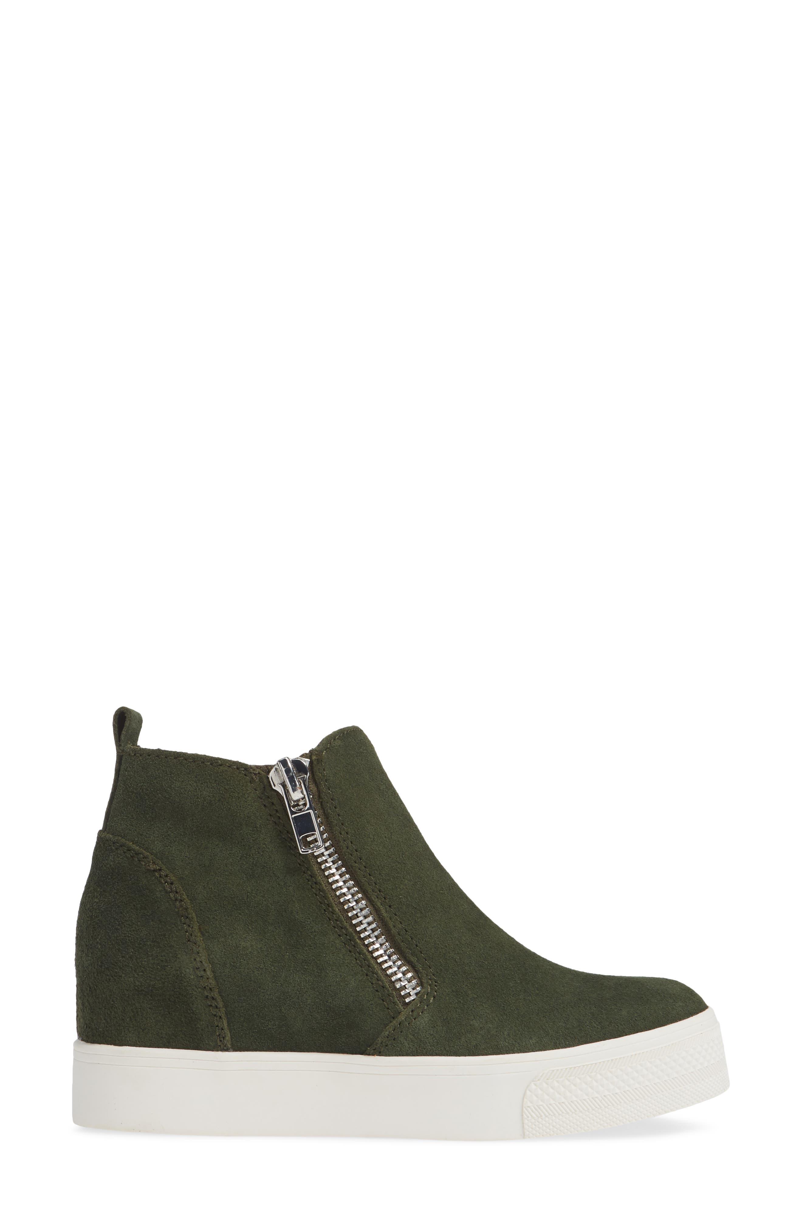 Wedgie High Top Platform Sneaker,                             Alternate thumbnail 3, color,                             OLIVE/ OLIVE SUEDE