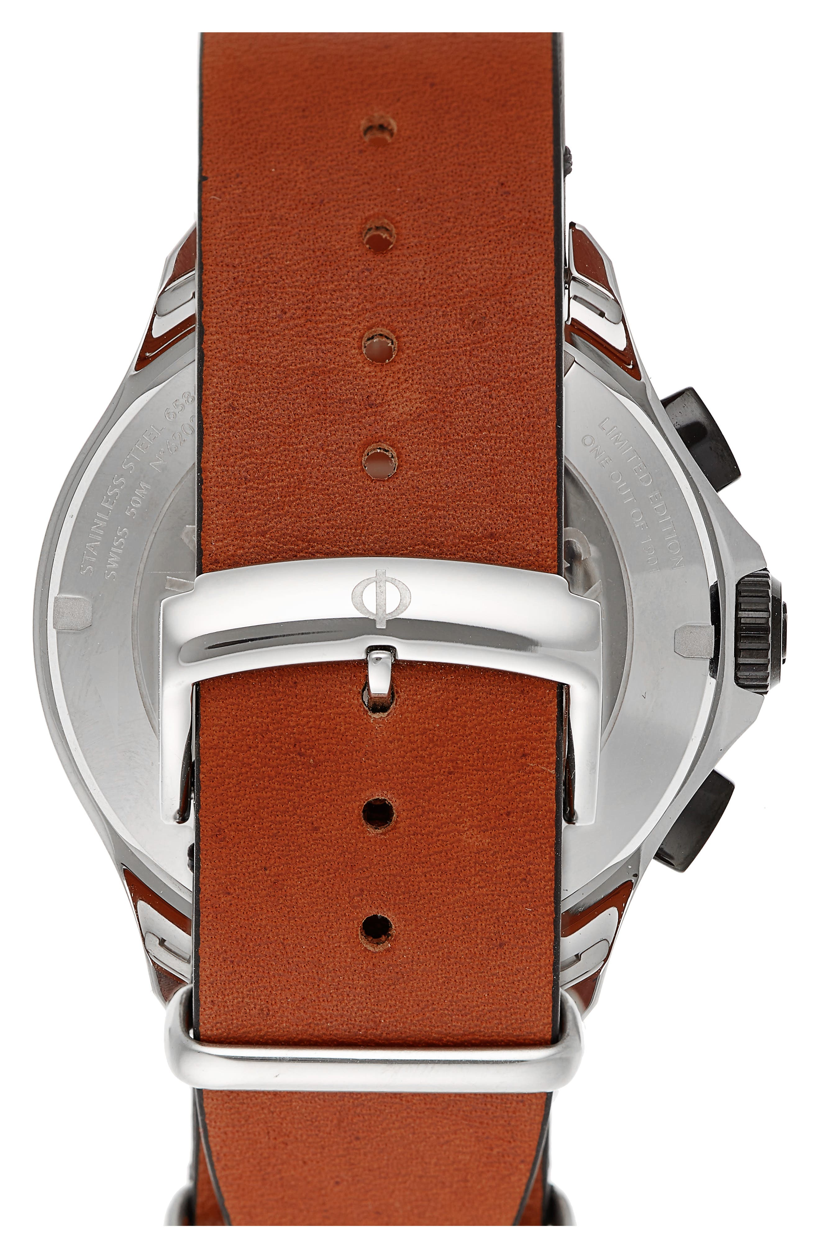 Clifton Limited Edition Leather Strap Watch, 44mm,                             Alternate thumbnail 2, color,                             GREY/BROWN