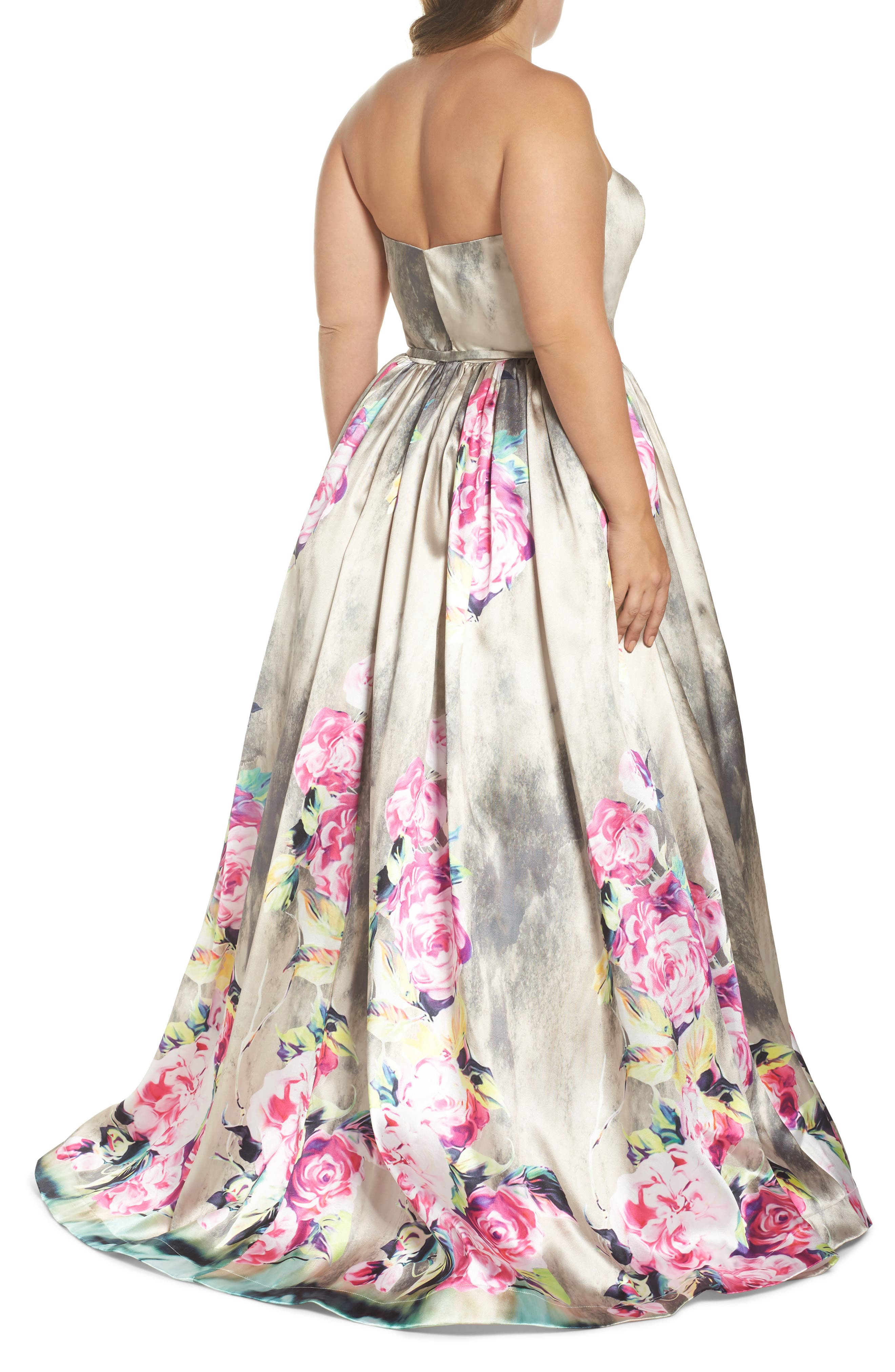Floral Bustier Ballgown,                             Alternate thumbnail 2, color,                             FLORAL RAIN