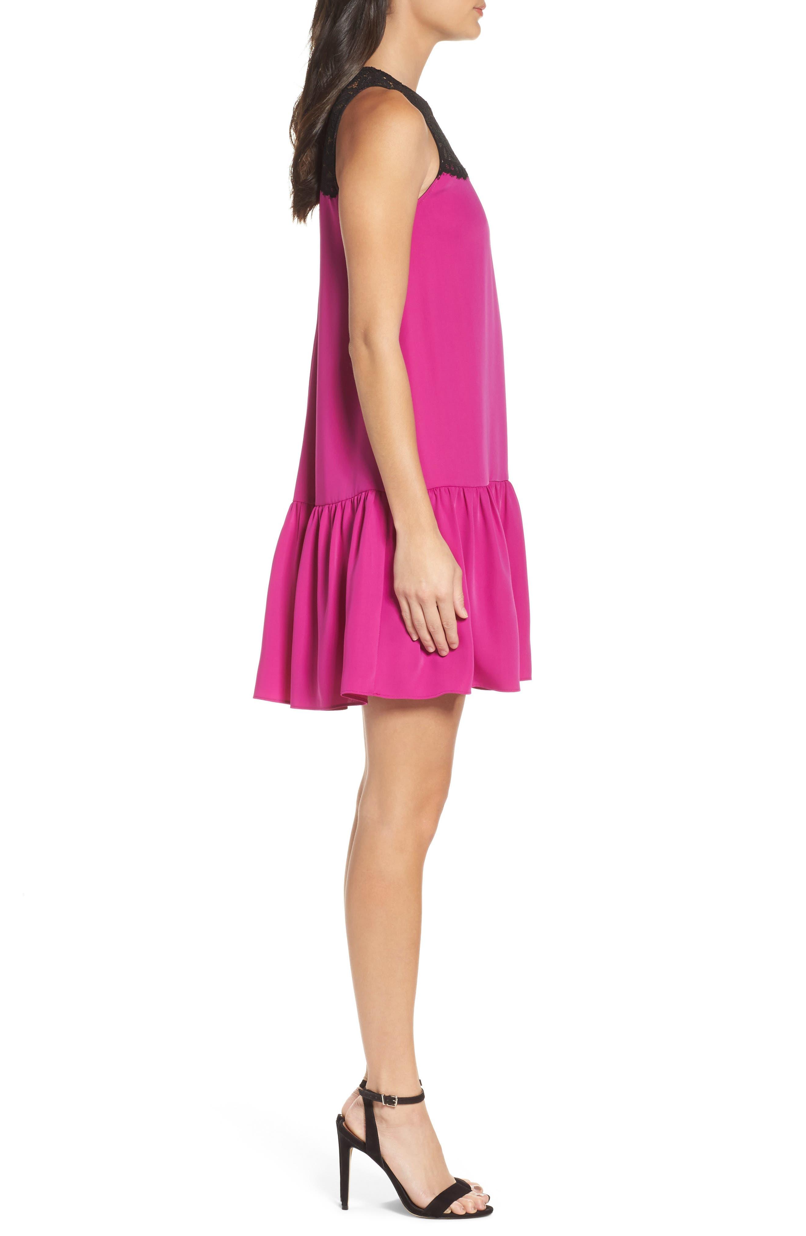 Lace & Crepe Shift Dress,                             Alternate thumbnail 6, color,