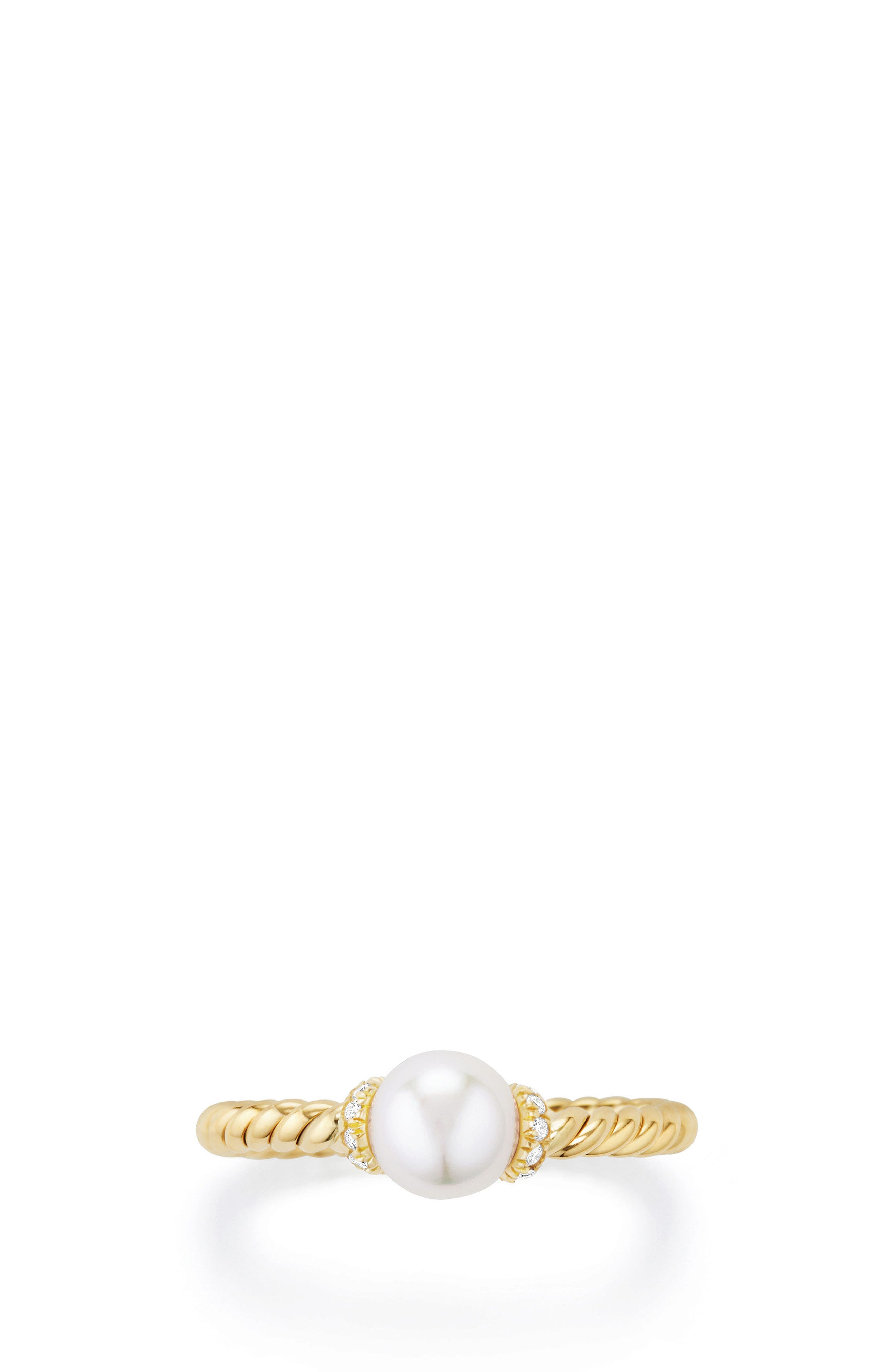 Solari Station Ring with Pearl & Diamonds in 18K Gold,                             Alternate thumbnail 3, color,                             YELLOW GOLD/ DIAMOND/ PEARL