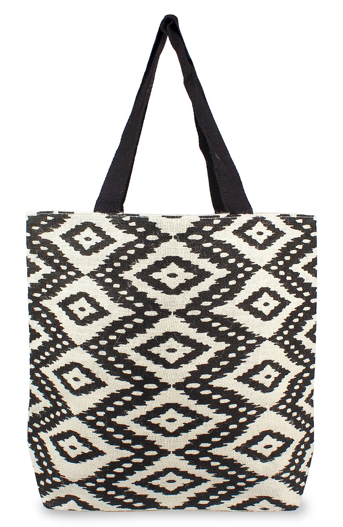 Personalized Ikat Jute Tote,                         Main,                         color, 001
