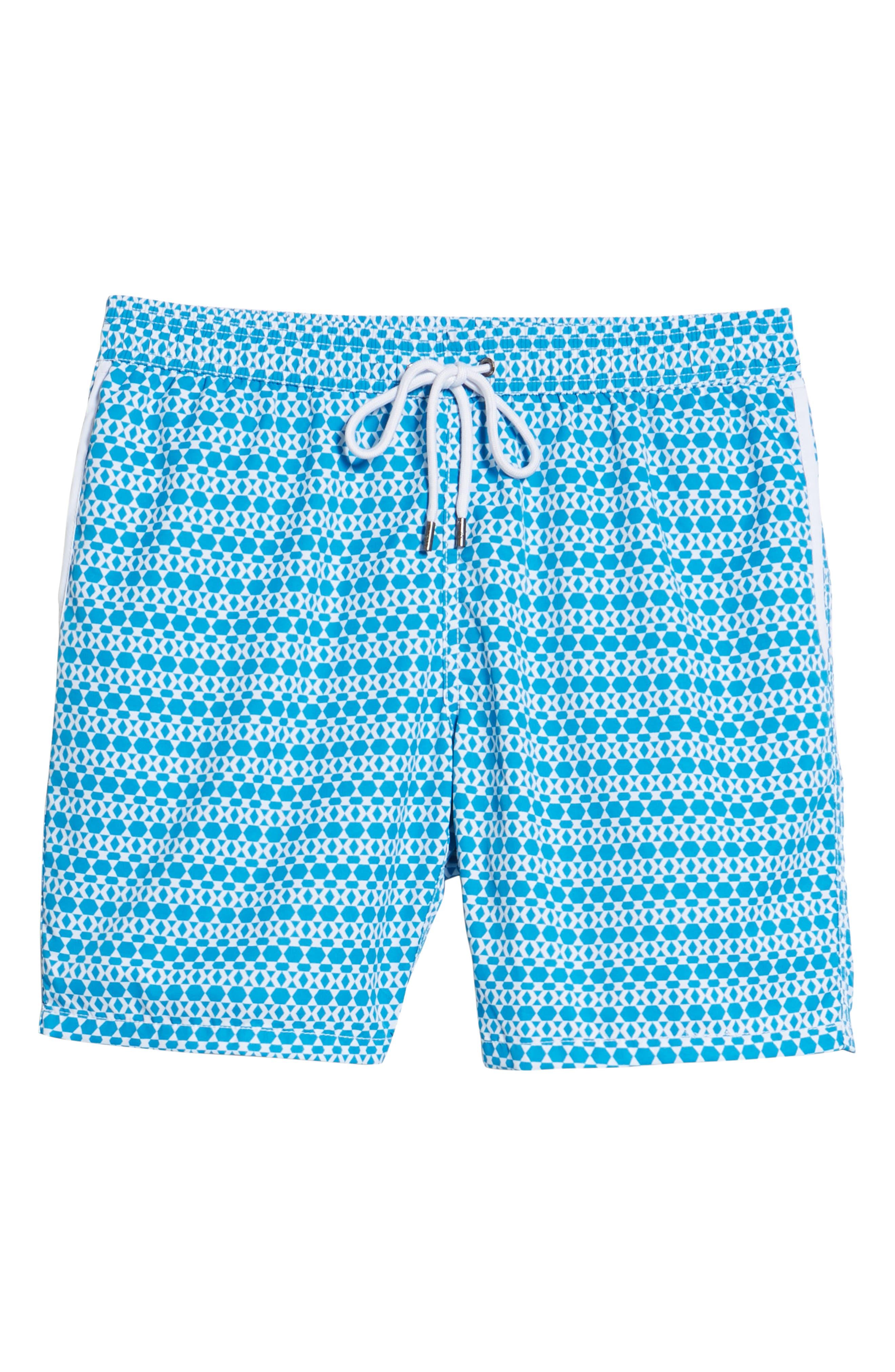 Mr. Swim Hexagon Stripe Swim Trunks,                             Alternate thumbnail 6, color,                             NAVY