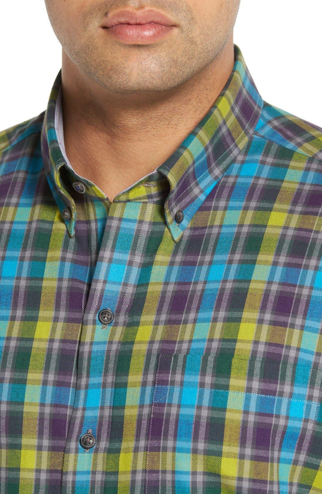 'Timber' Plaid Cotton Twill Sport Shirt,                             Alternate thumbnail 4, color,                             500