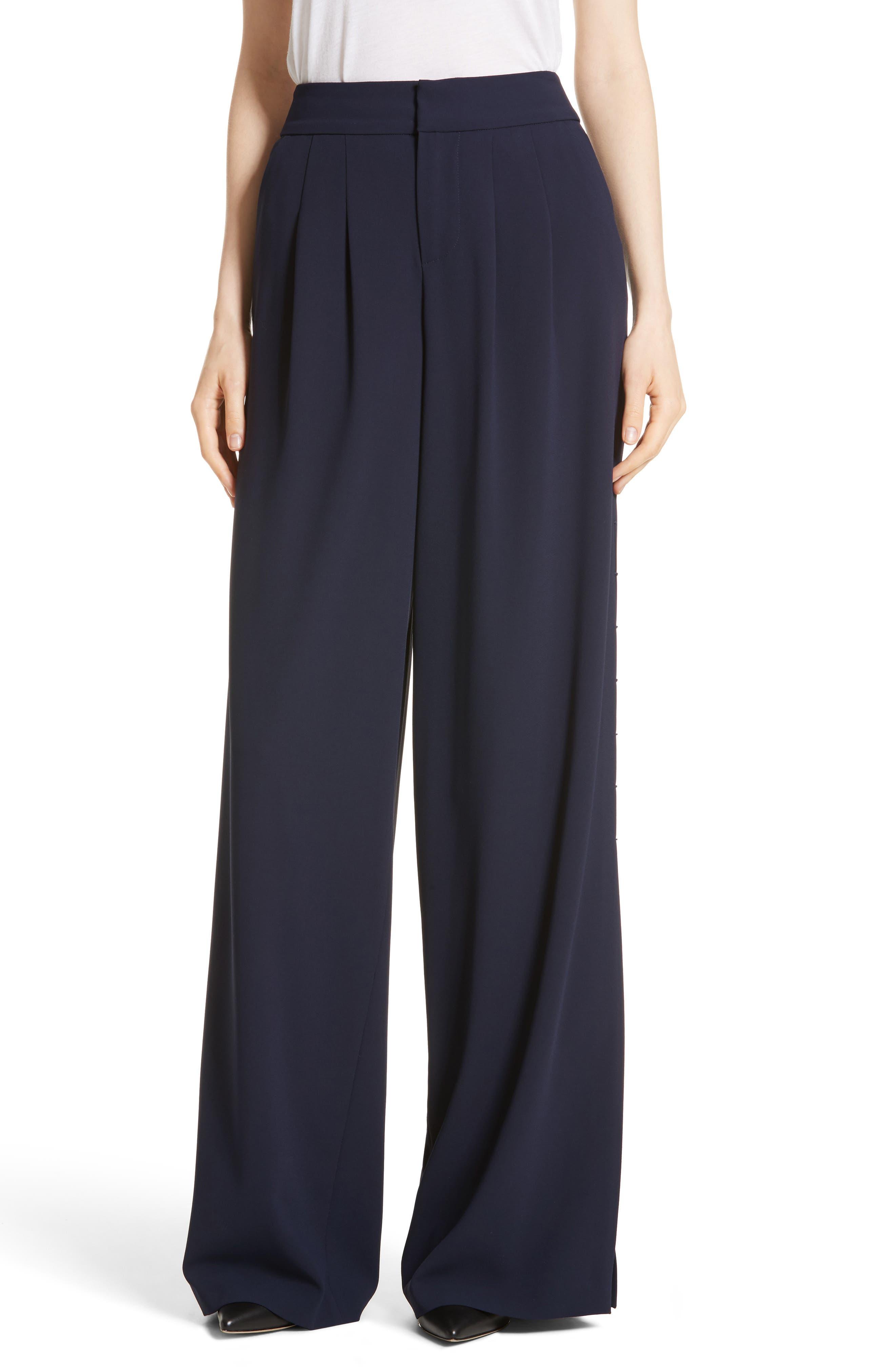 Shavon High Waist Side Slit Flare Pants,                         Main,                         color, 400
