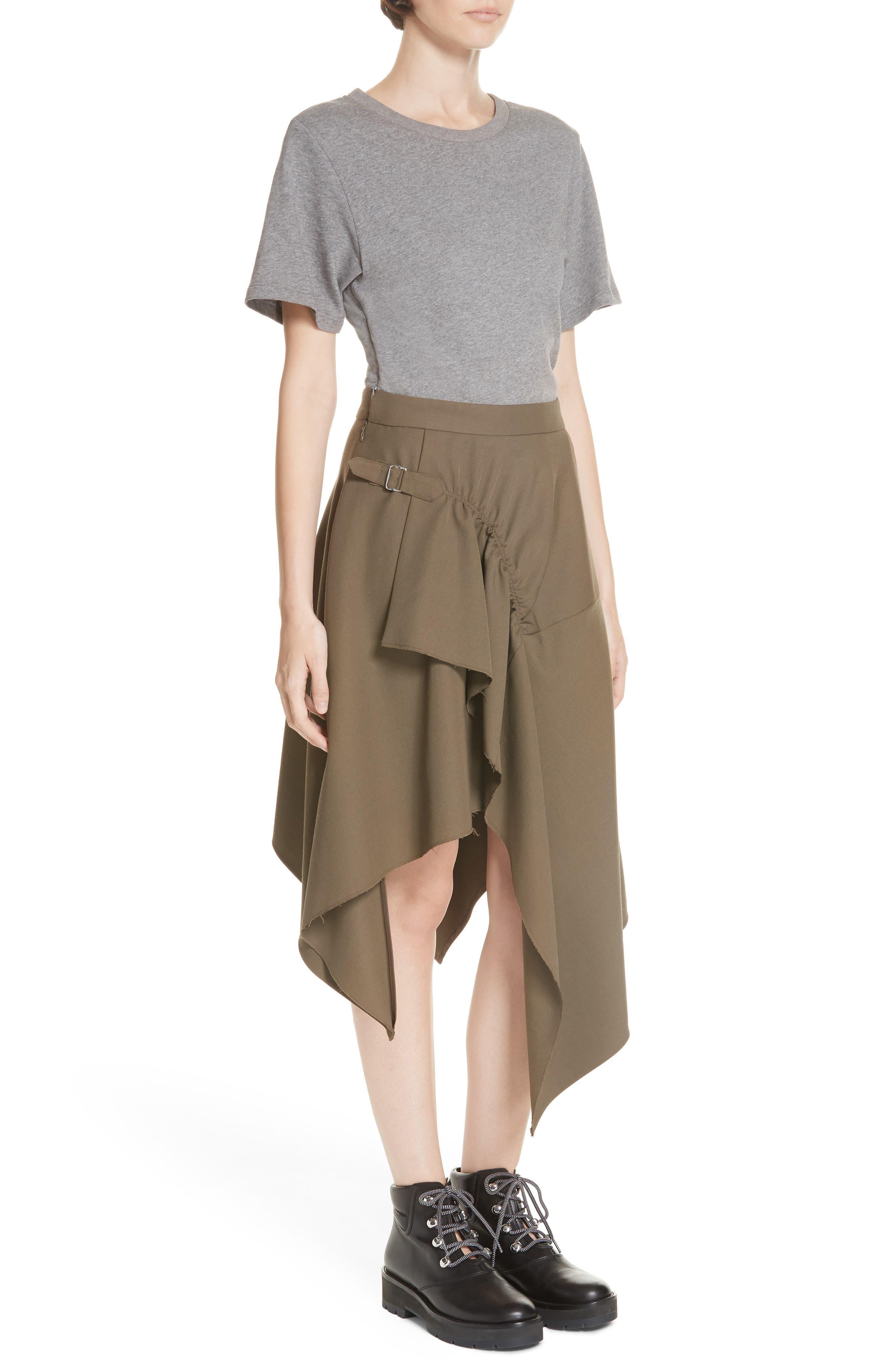 Mixed Media Wool & Cotton T-Shirt Dress,                             Alternate thumbnail 4, color,                             FIR GREEN