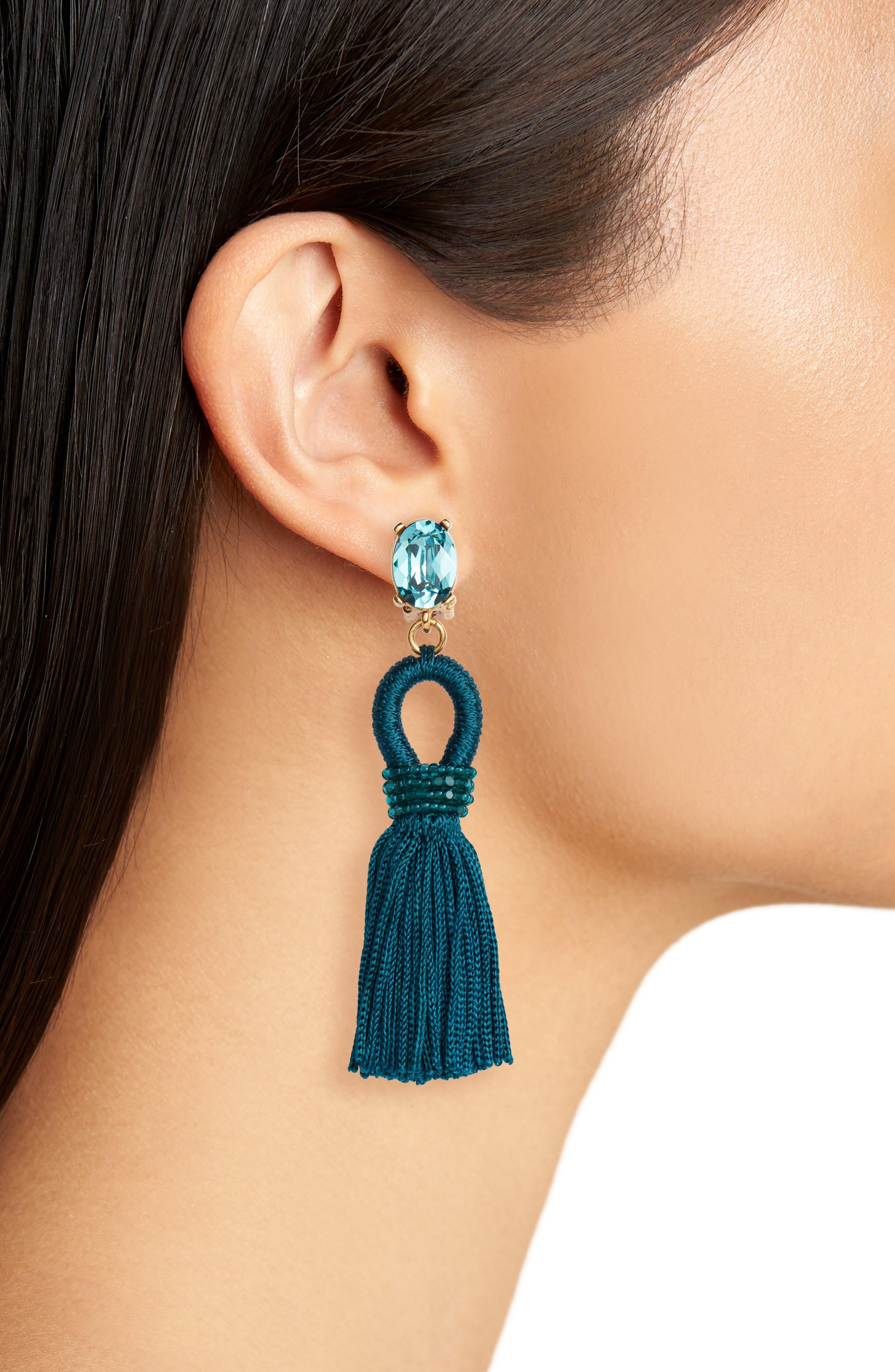 Silk Tassel Drop Earrings,                             Alternate thumbnail 2, color,                             408