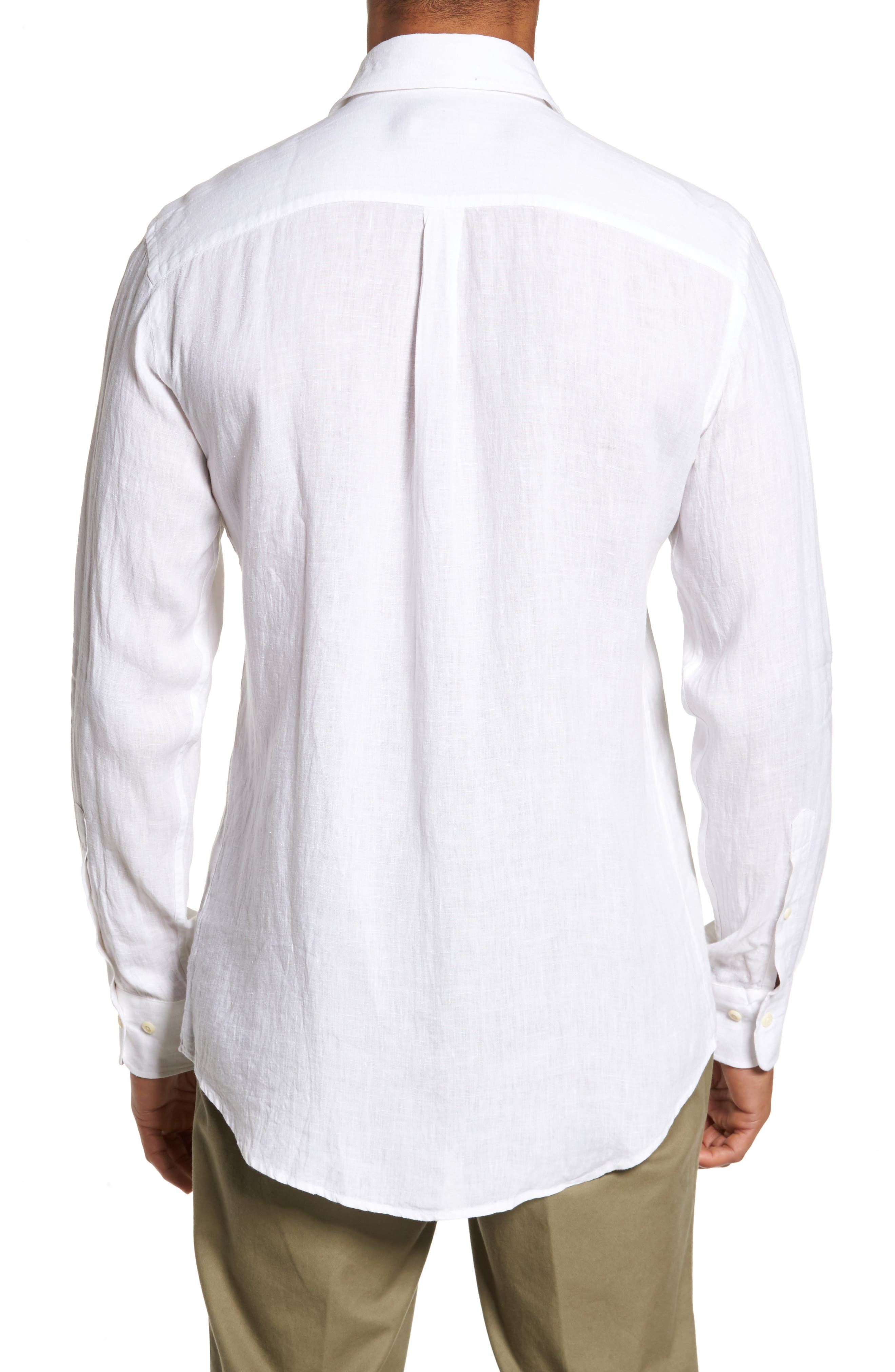 Classic Fit Crown Cool Linen Sport Shirt,                             Alternate thumbnail 2, color,                             100