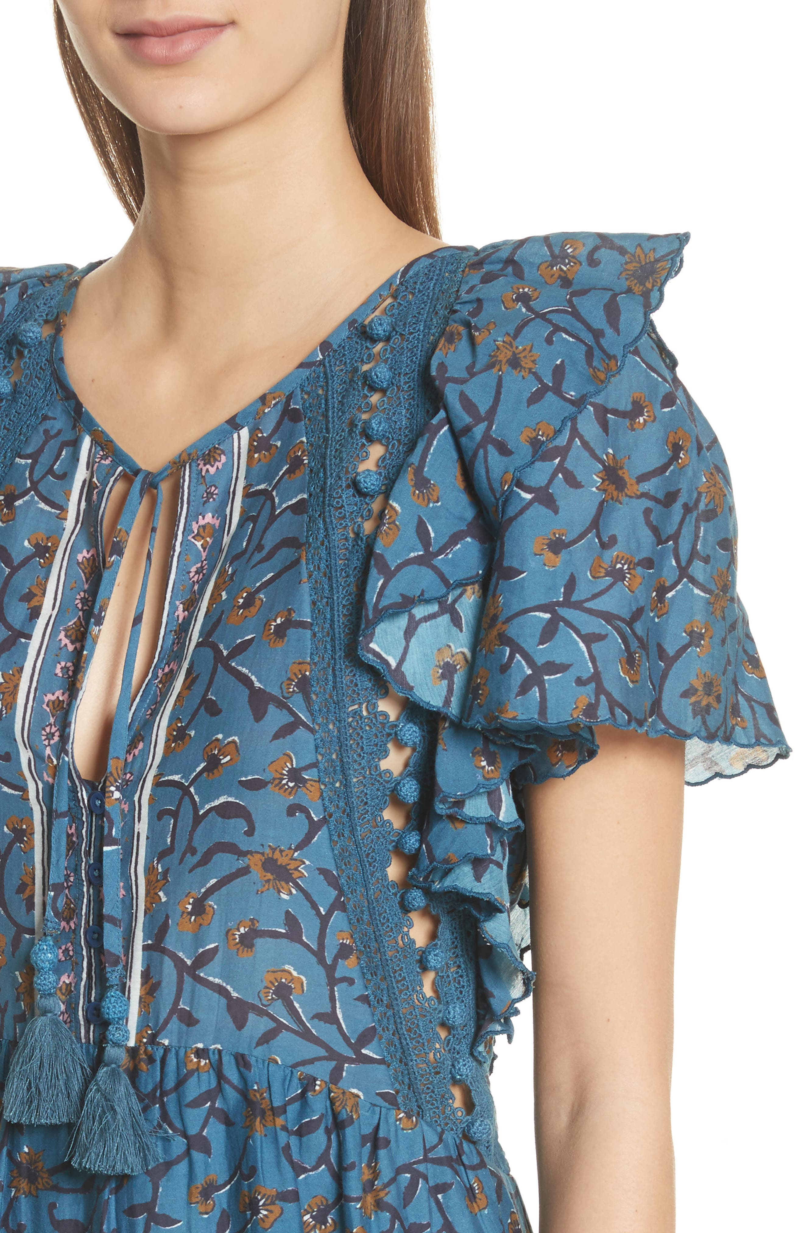 Kaylee Crochet Pompom Dress,                             Alternate thumbnail 4, color,                             400