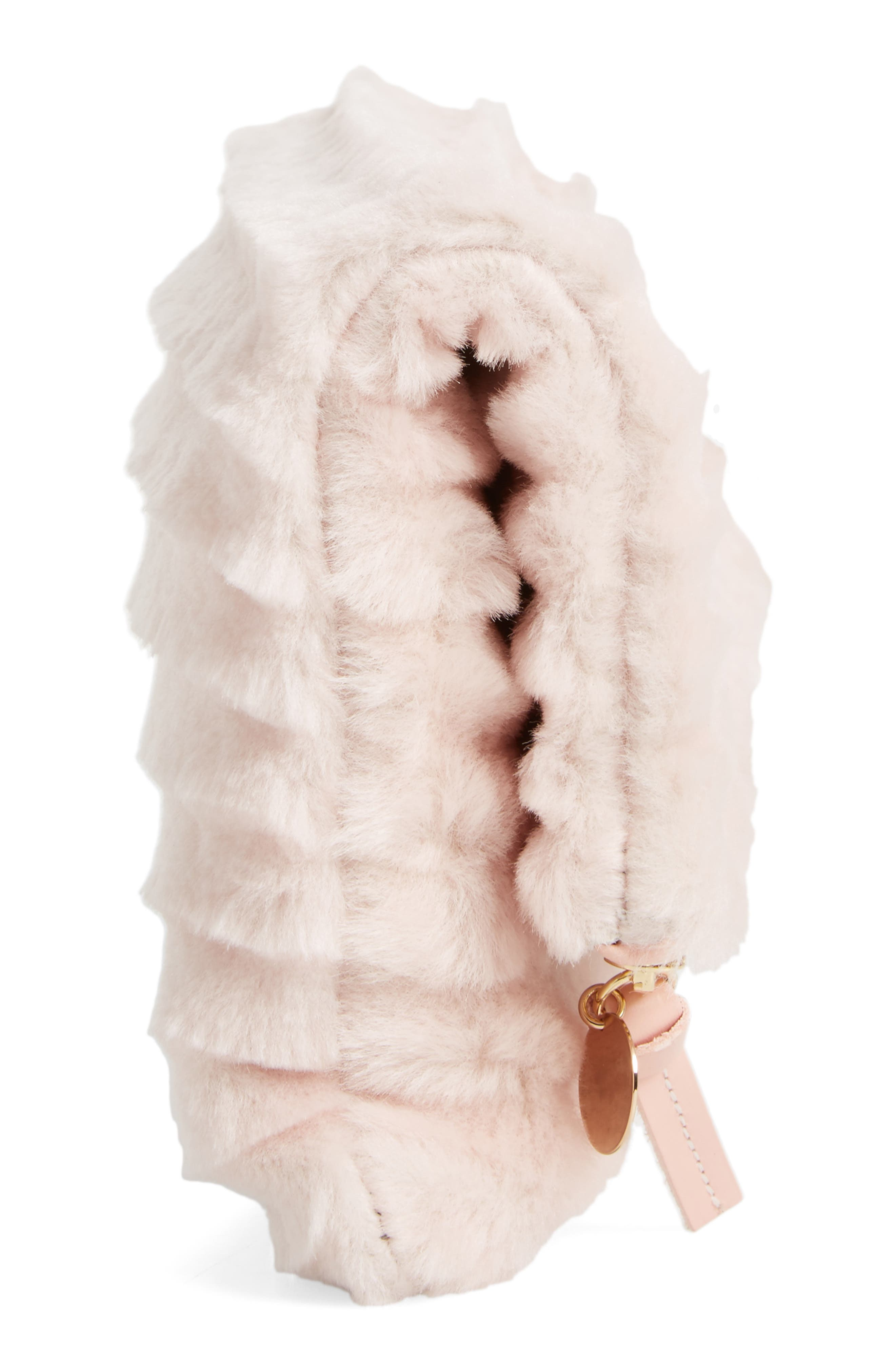 Genuine Shearling Foldover Clutch,                             Alternate thumbnail 5, color,                             650