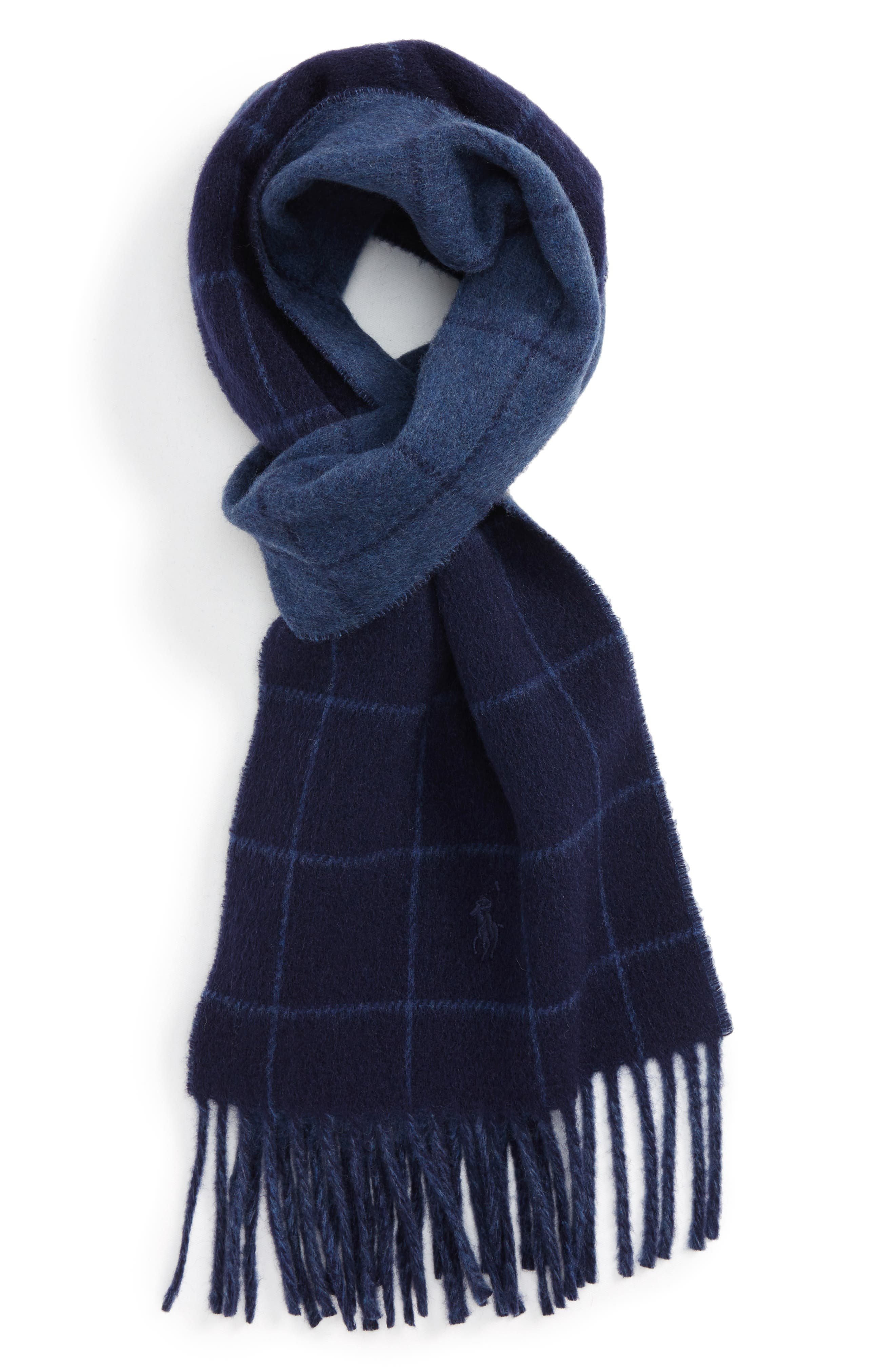 Reversible Wool Blend Plaid Scarf,                             Main thumbnail 2, color,