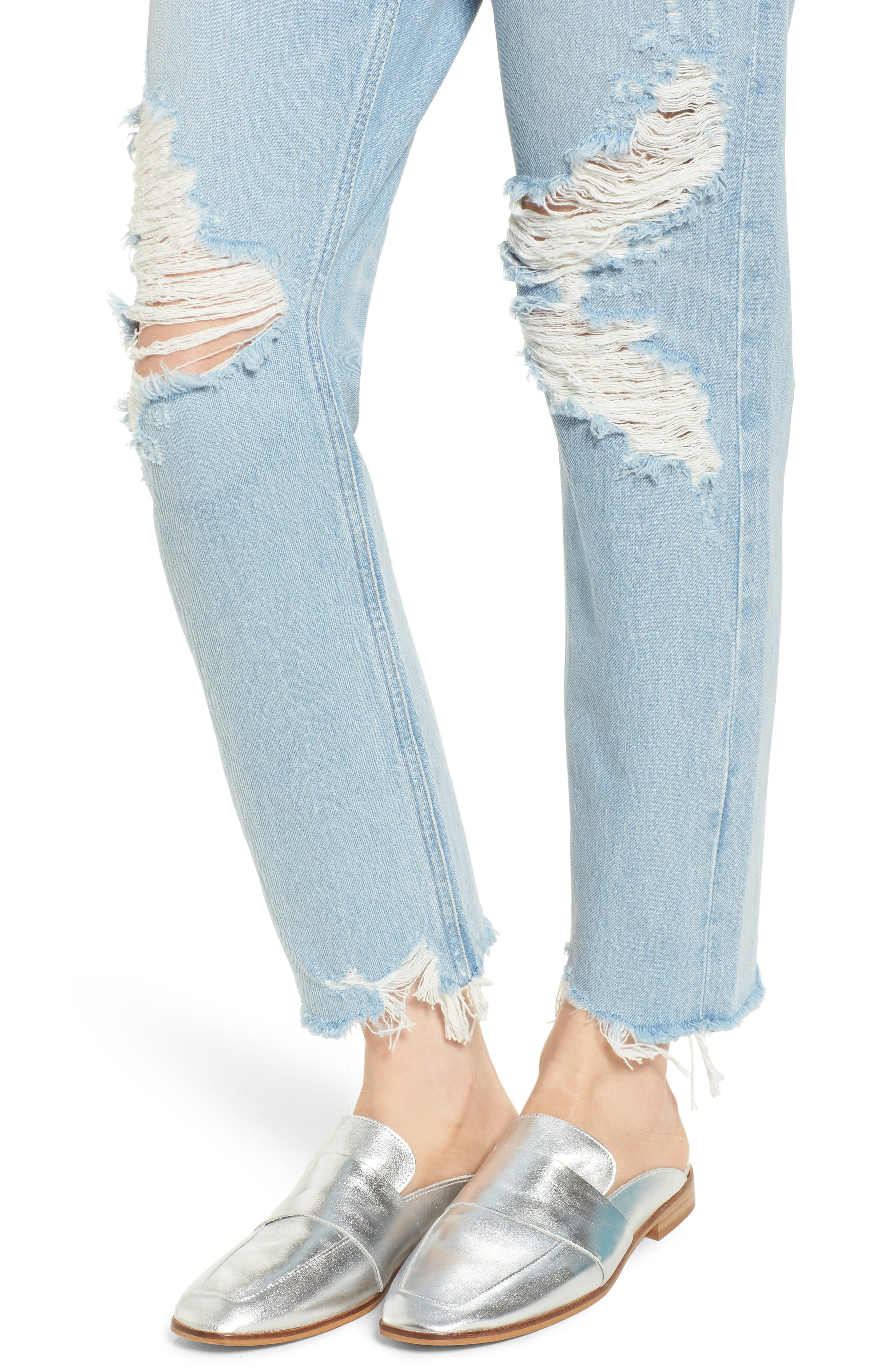 Jamie High Waist Ankle Jeans,                             Alternate thumbnail 4, color,                             453