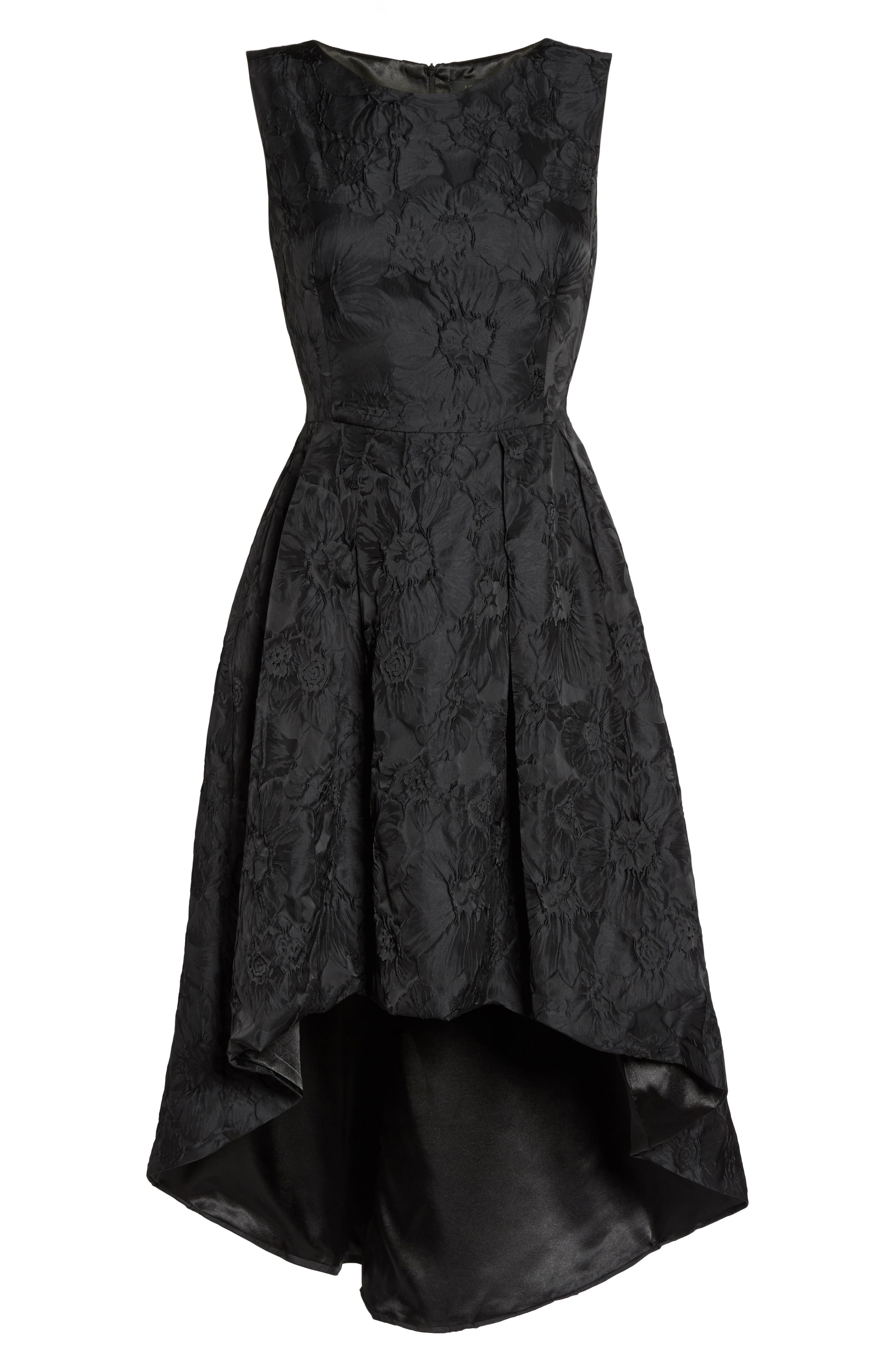 Forest Lily Jacquard High/Low Dress,                             Alternate thumbnail 6, color,                             001