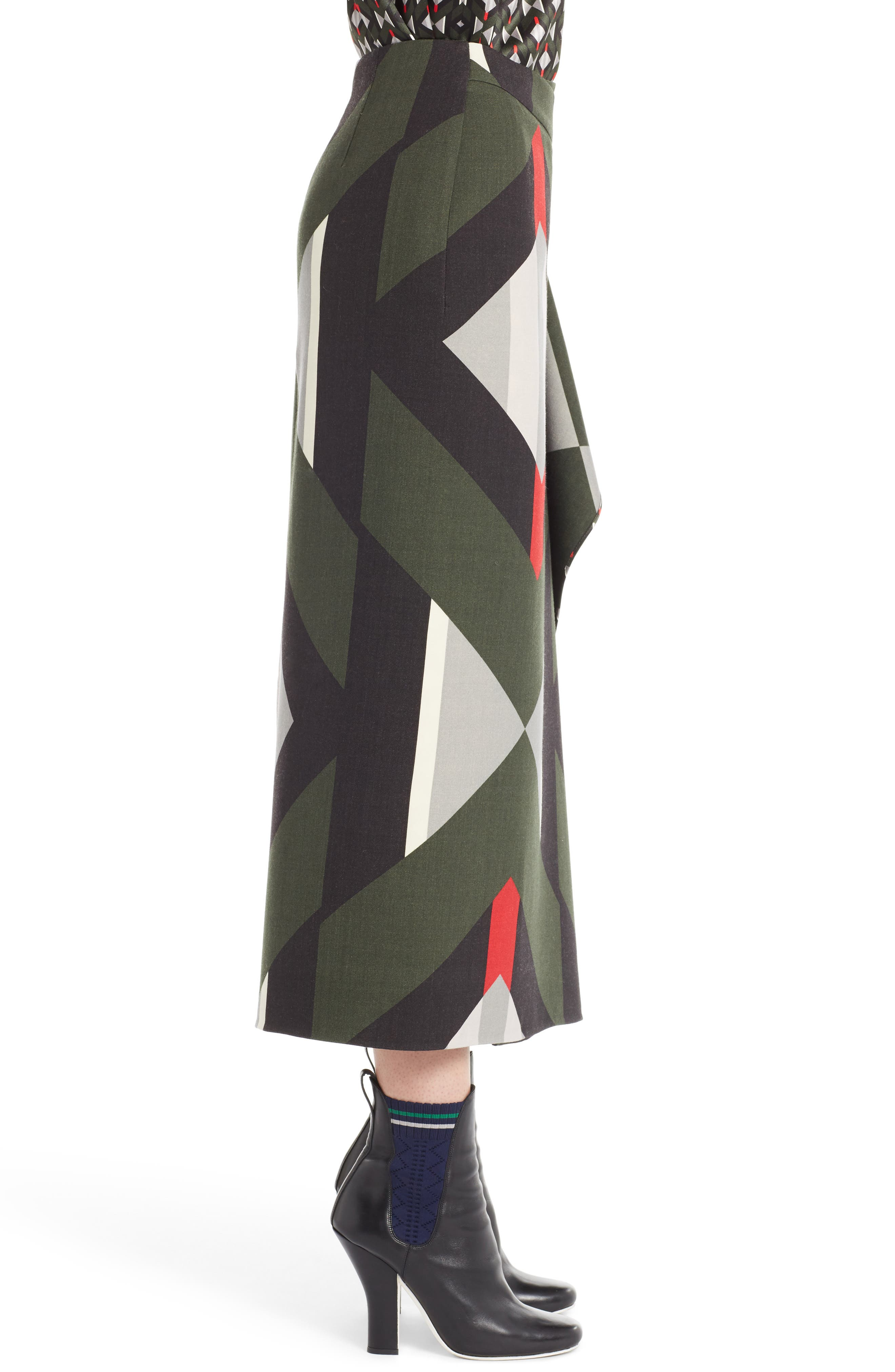Lozenge Print Wrap Skirt,                             Alternate thumbnail 3, color,