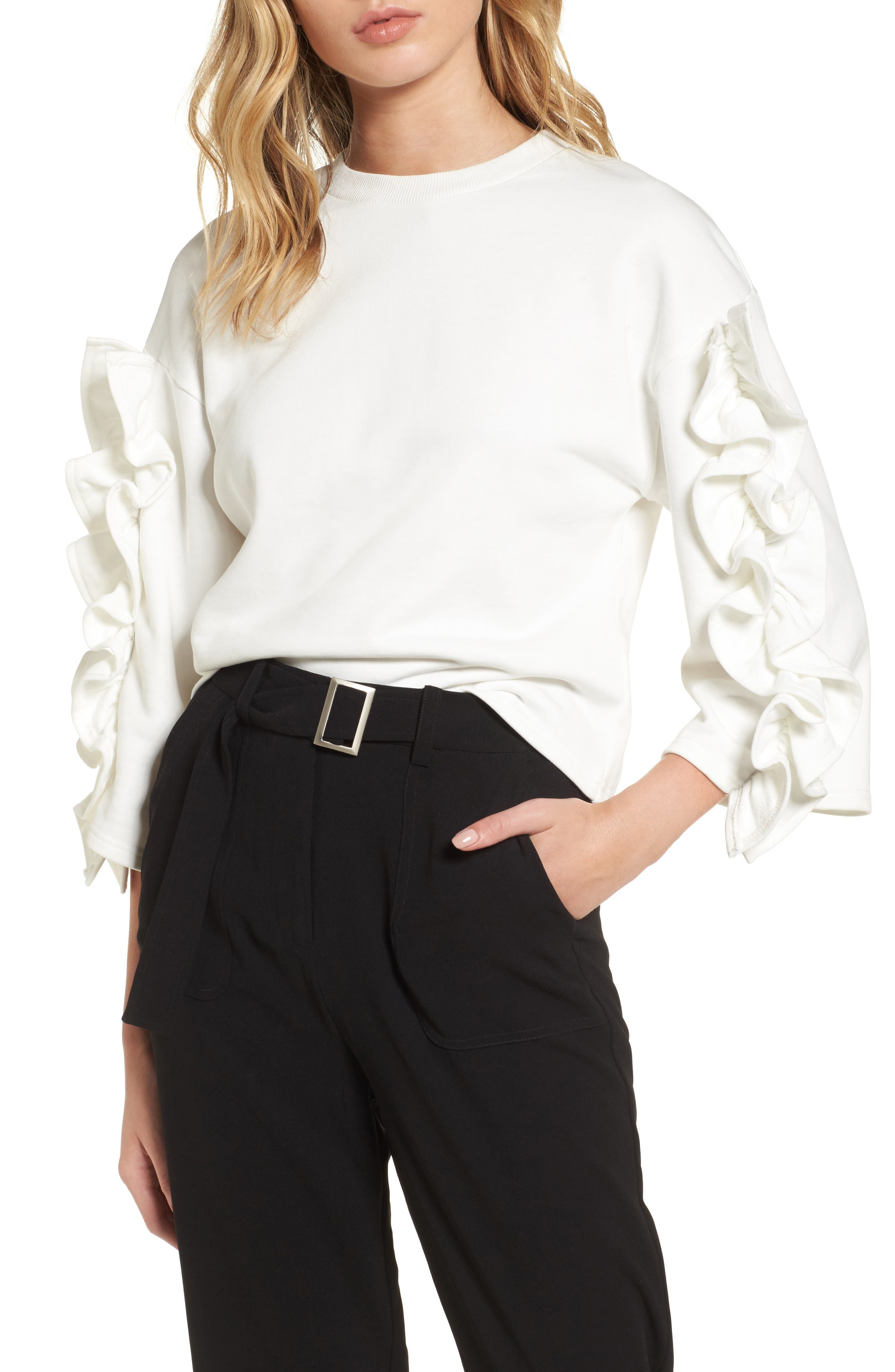 Ruffle Sleeve Top,                         Main,                         color, 100