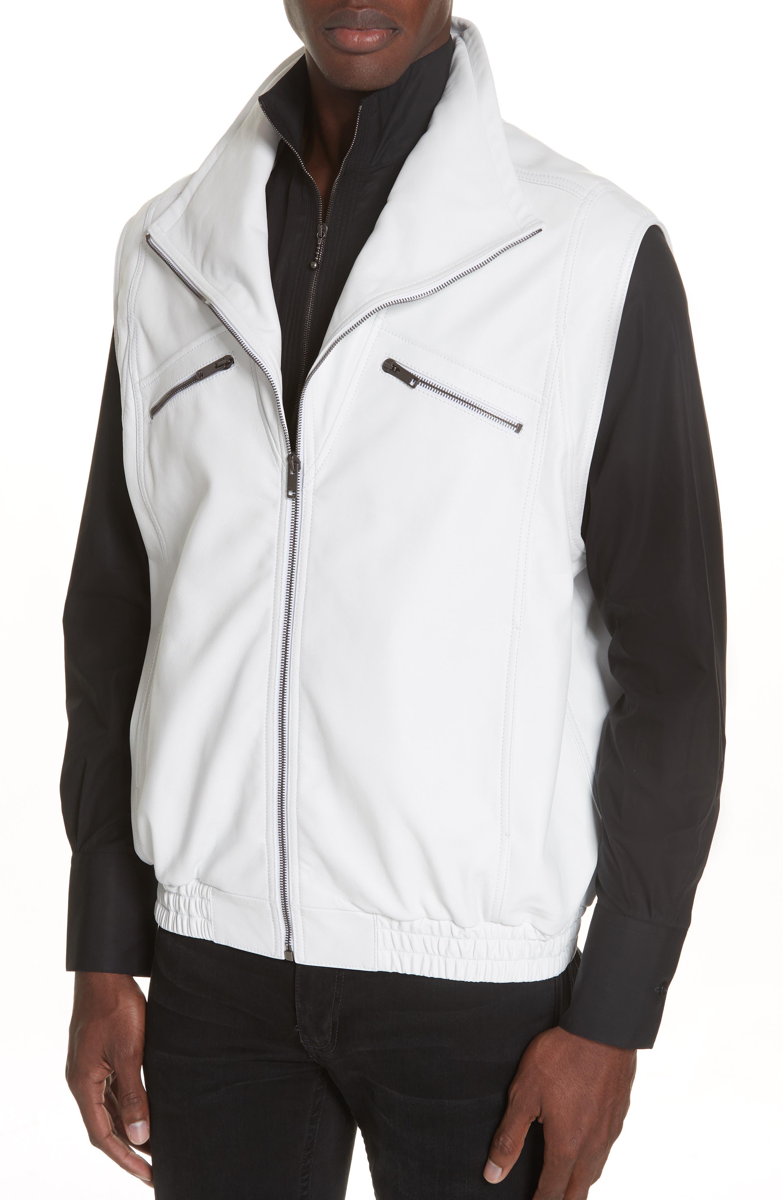 Sleeveless Zip Leather Vest,                             Alternate thumbnail 4, color,                             WHITE