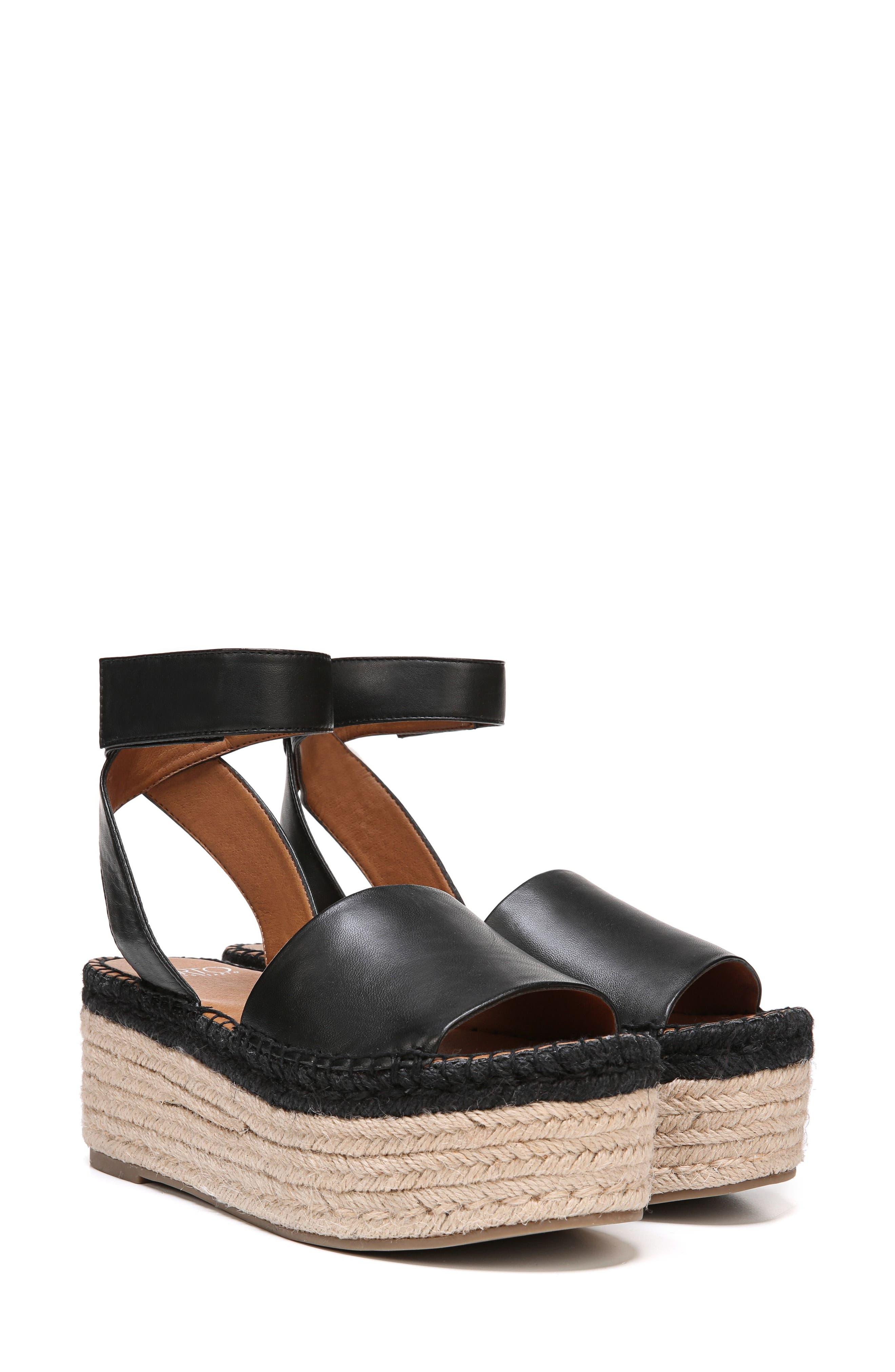 Maisi Platform Espadrille Sandal,                             Alternate thumbnail 8, color,                             BLACK LEATHER