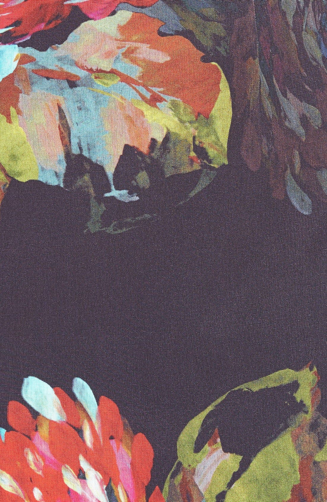 'Natasha' Flower Print Faille A-Line Dress,                             Alternate thumbnail 4, color,                             001