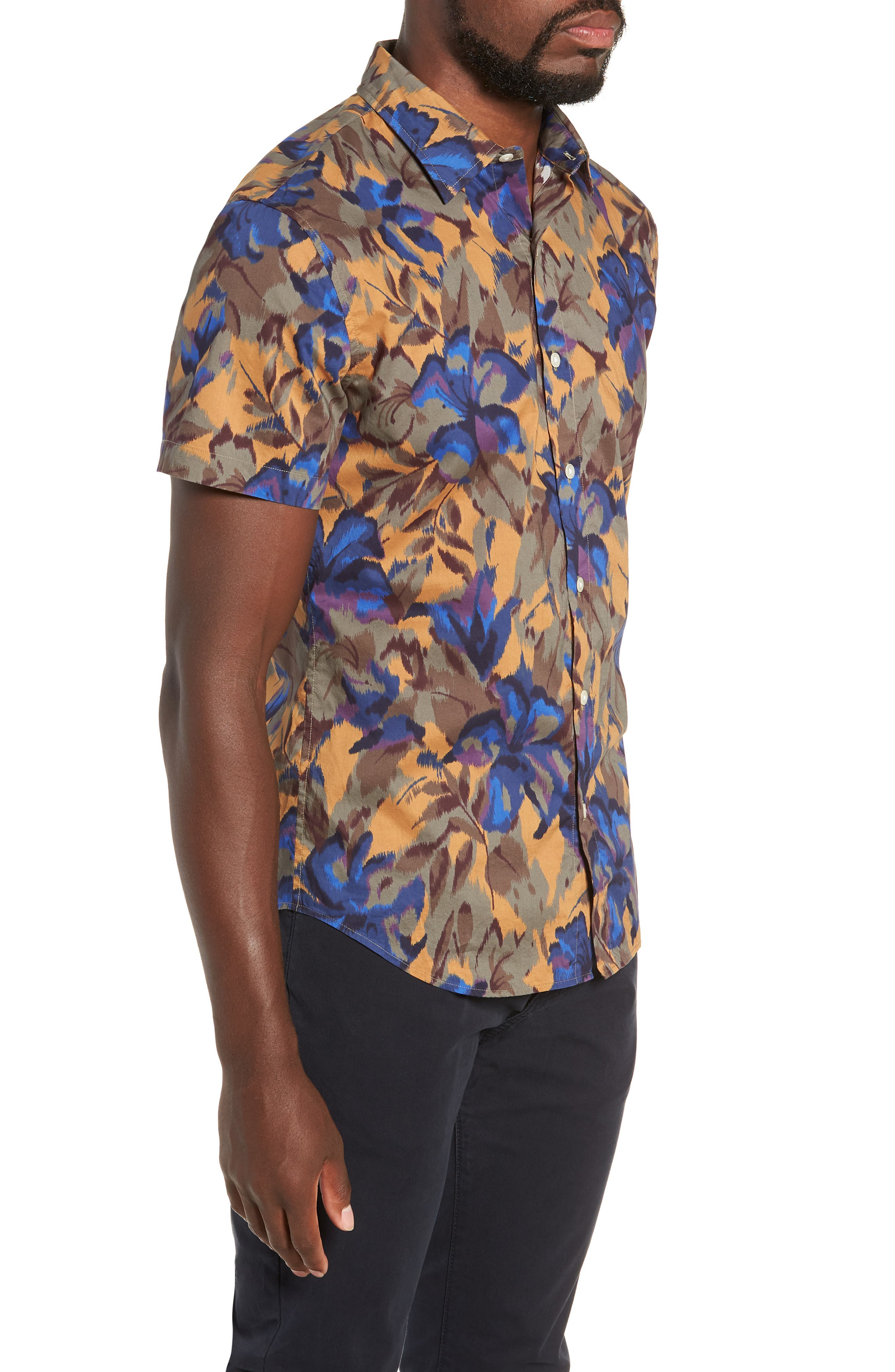 Riviera Slim Fit Sport Shirt,                             Alternate thumbnail 4, color,                             FADED FLORAL - AMBER TOPAZ
