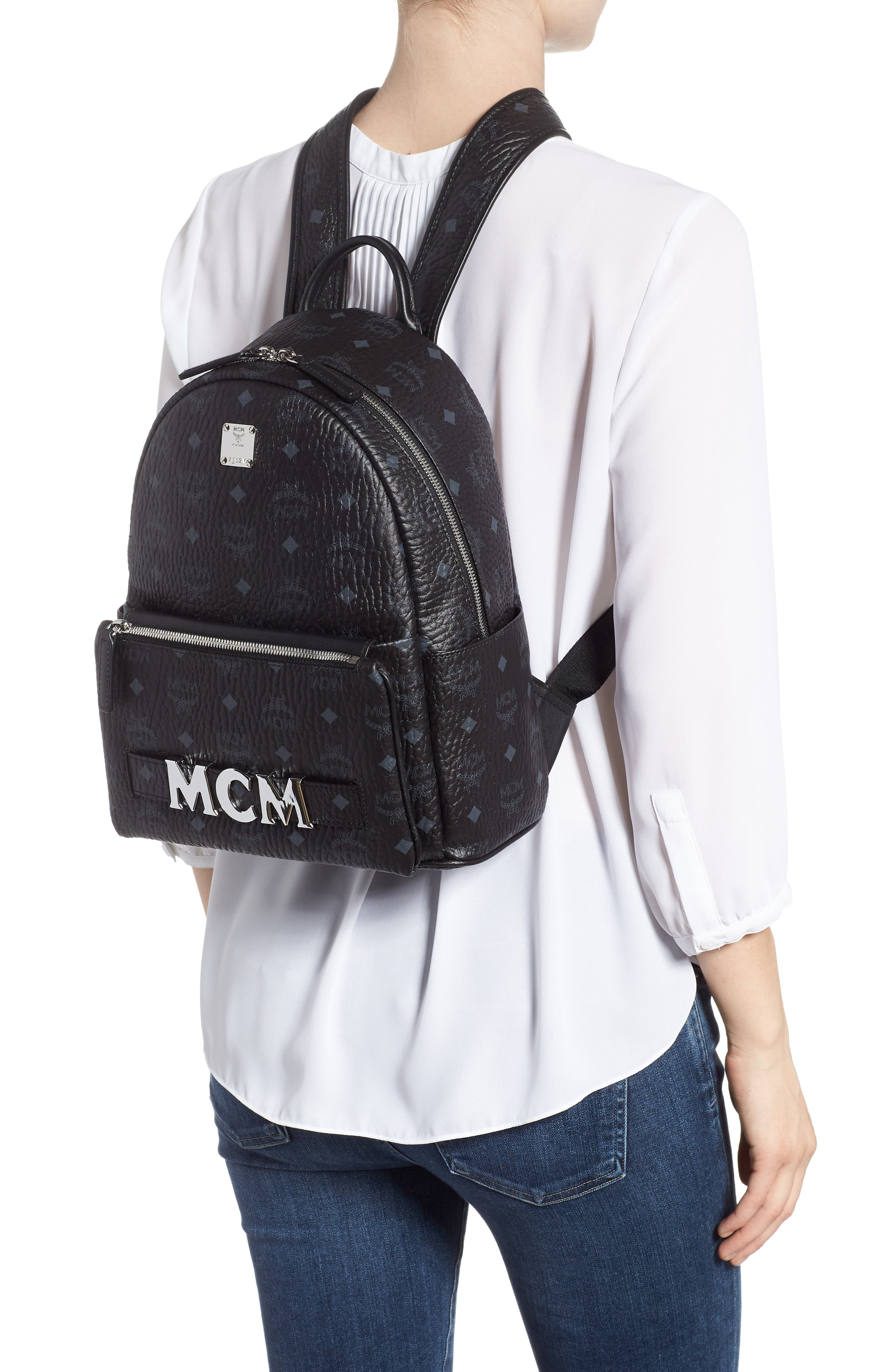 MCM,                             Small Stark Trilogie Canvas Backpack,                             Alternate thumbnail 2, color,                             001