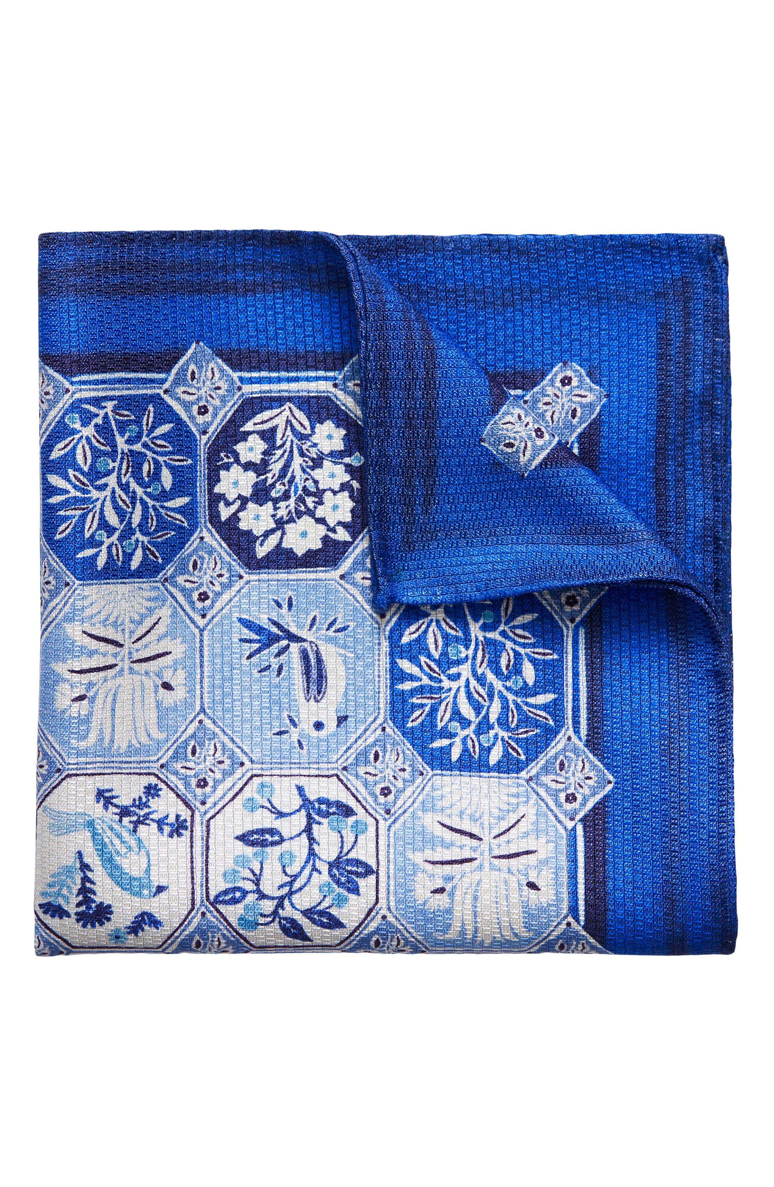 ETON,                             Medallion Tile Silk Pocket Square,                             Main thumbnail 1, color,                             400