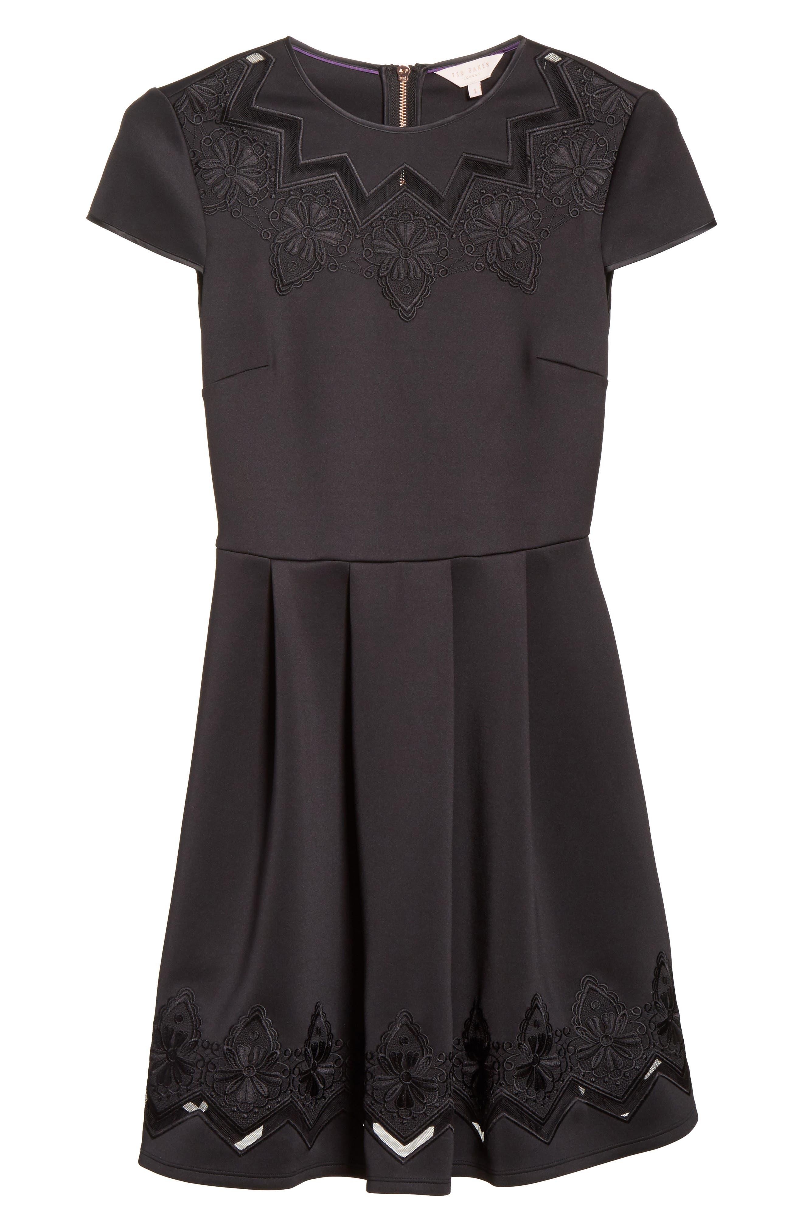 Mesh & Lace Trim Skater Dress,                             Alternate thumbnail 6, color,                             001