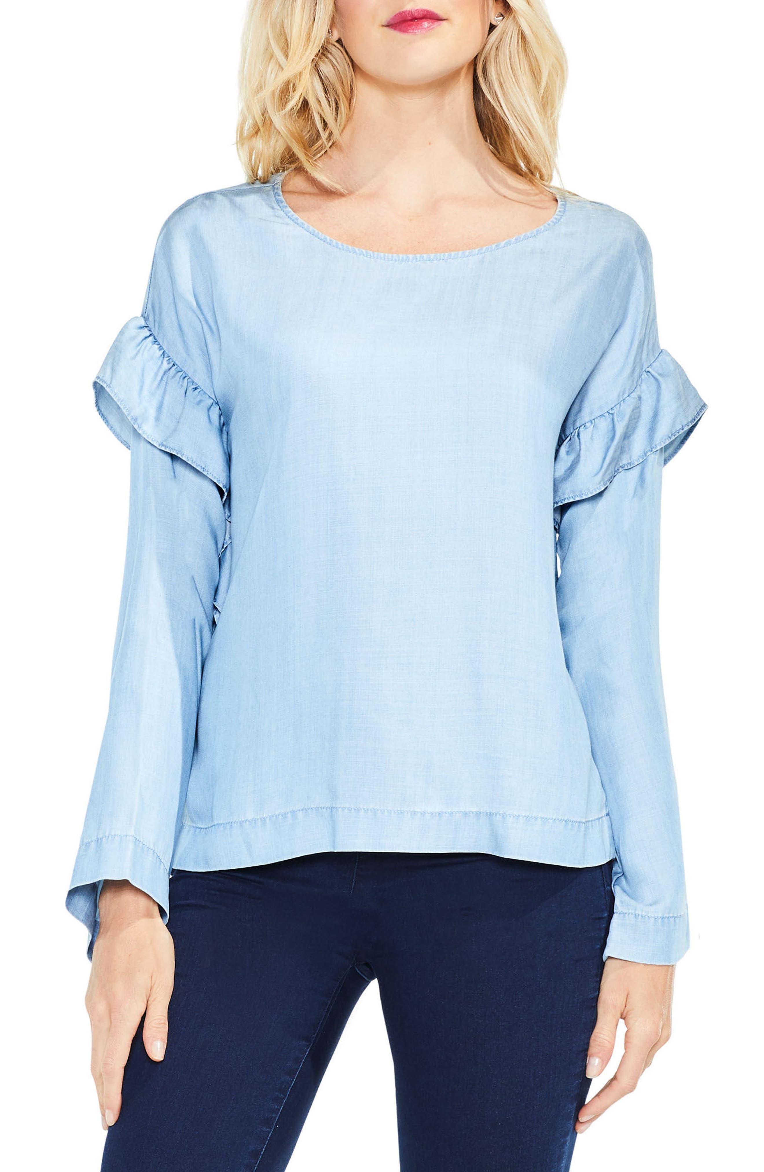 Ruffle Shoulder Blouse,                         Main,                         color,