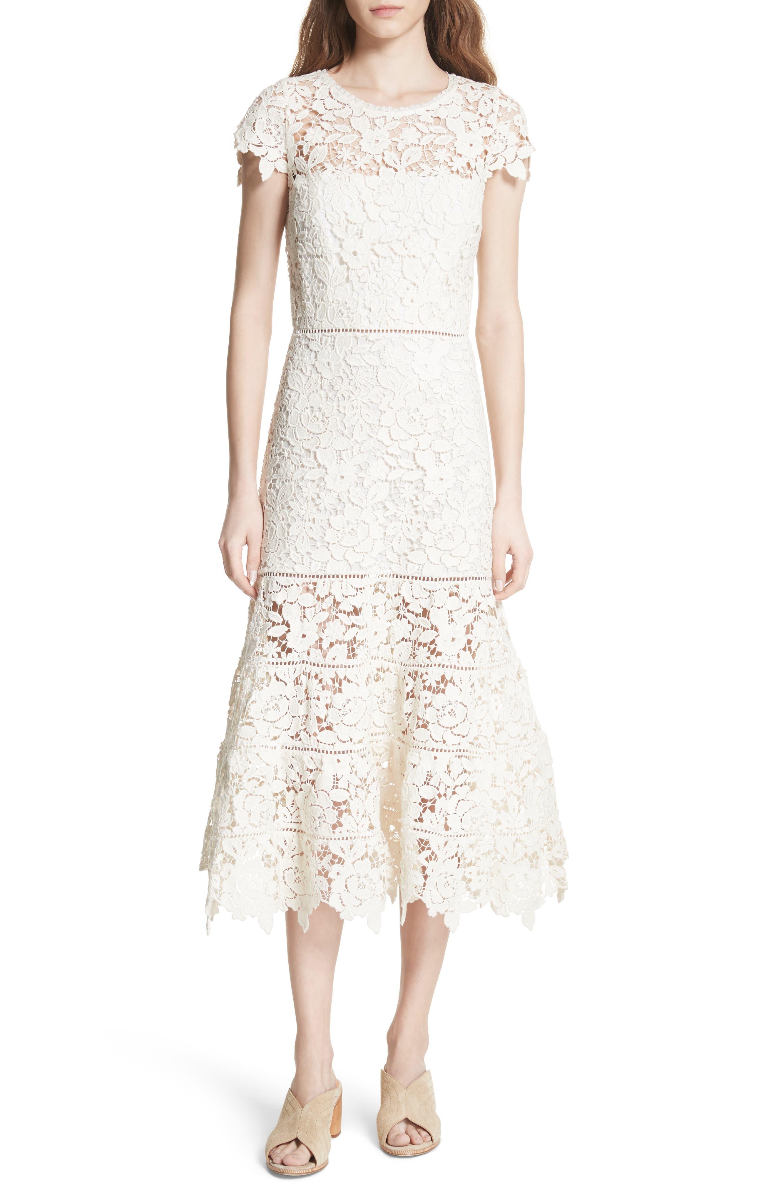 Celedonia Scallop Lace Dress,                             Main thumbnail 1, color,                             PORCELAIN