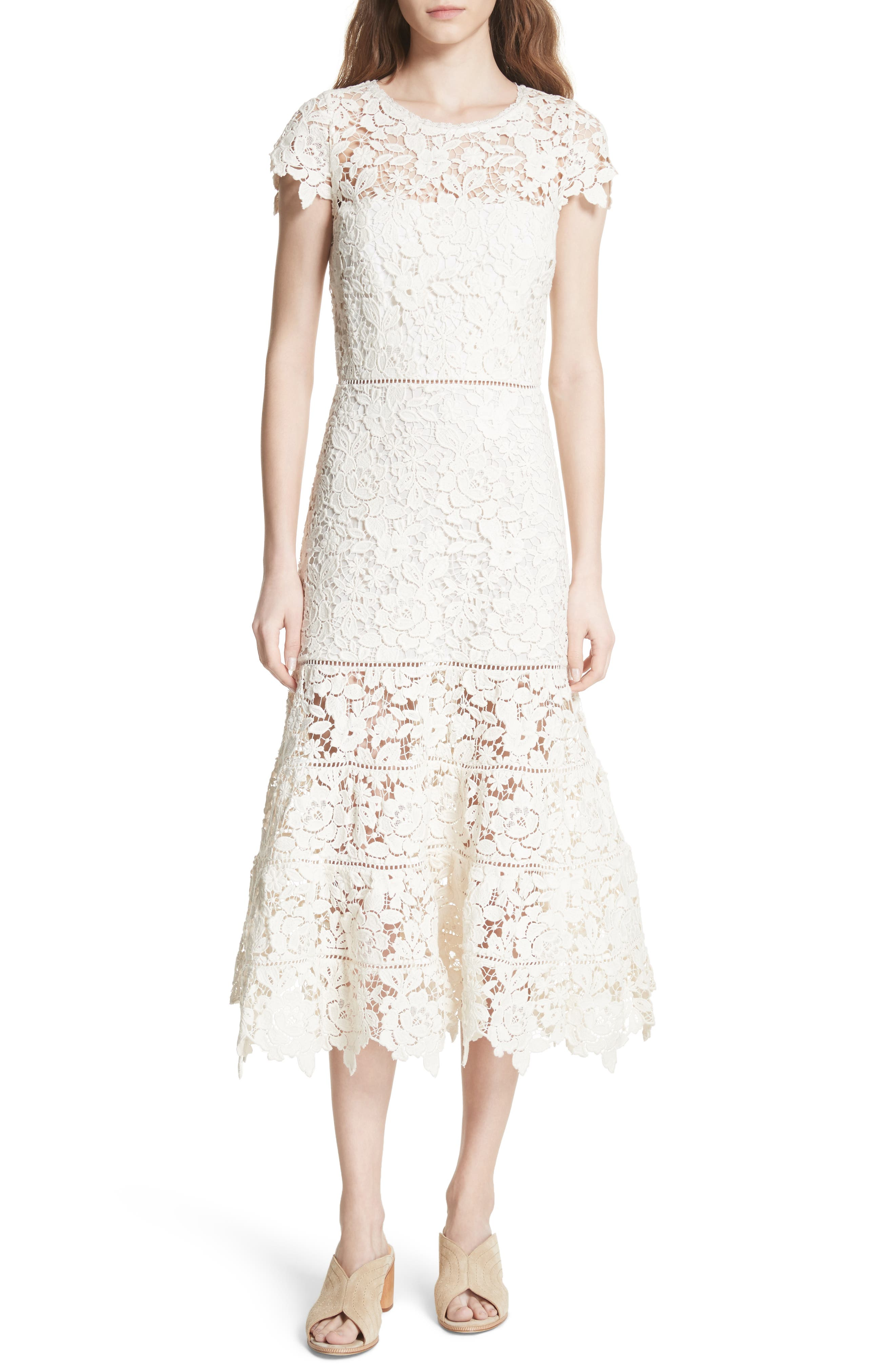 Celedonia Scallop Lace Dress,                         Main,                         color, 120
