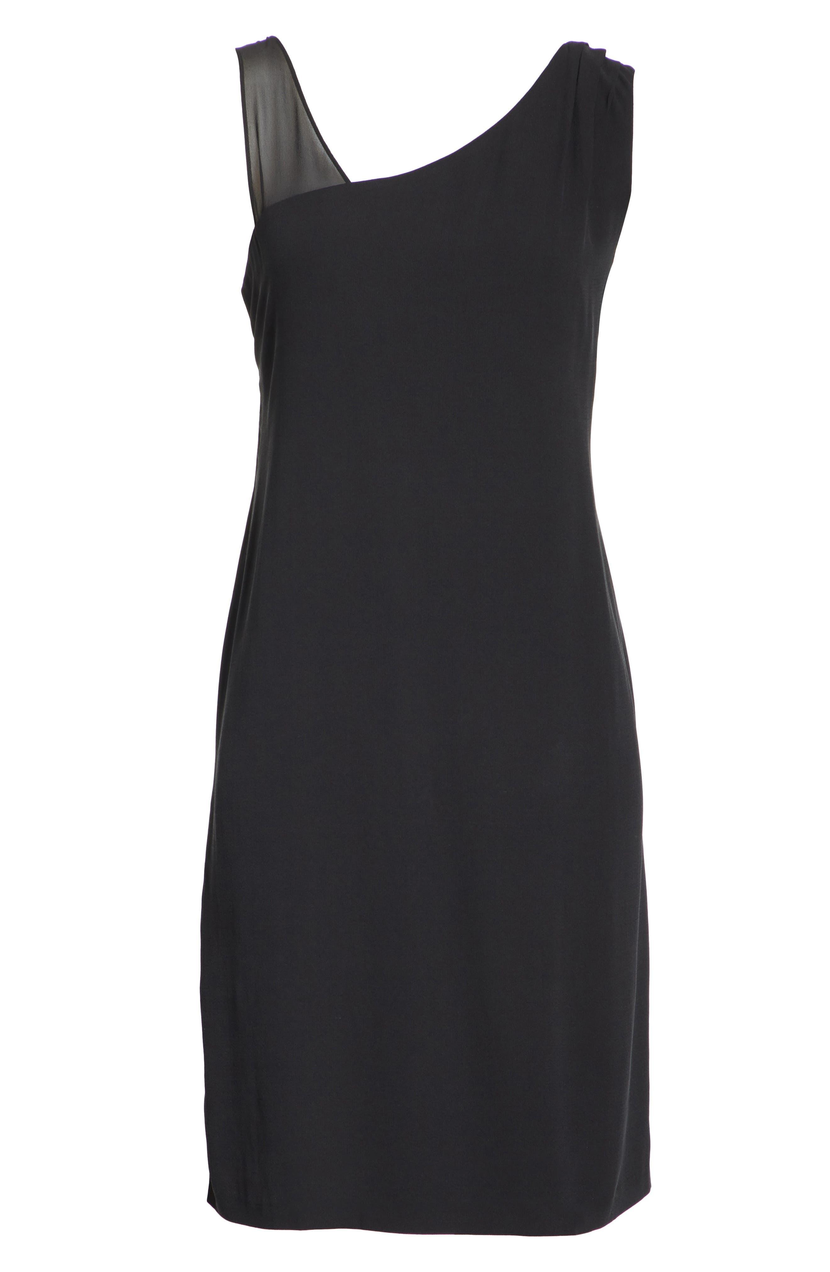 Sheer Strap Silk Shift Dress,                             Alternate thumbnail 7, color,                             001