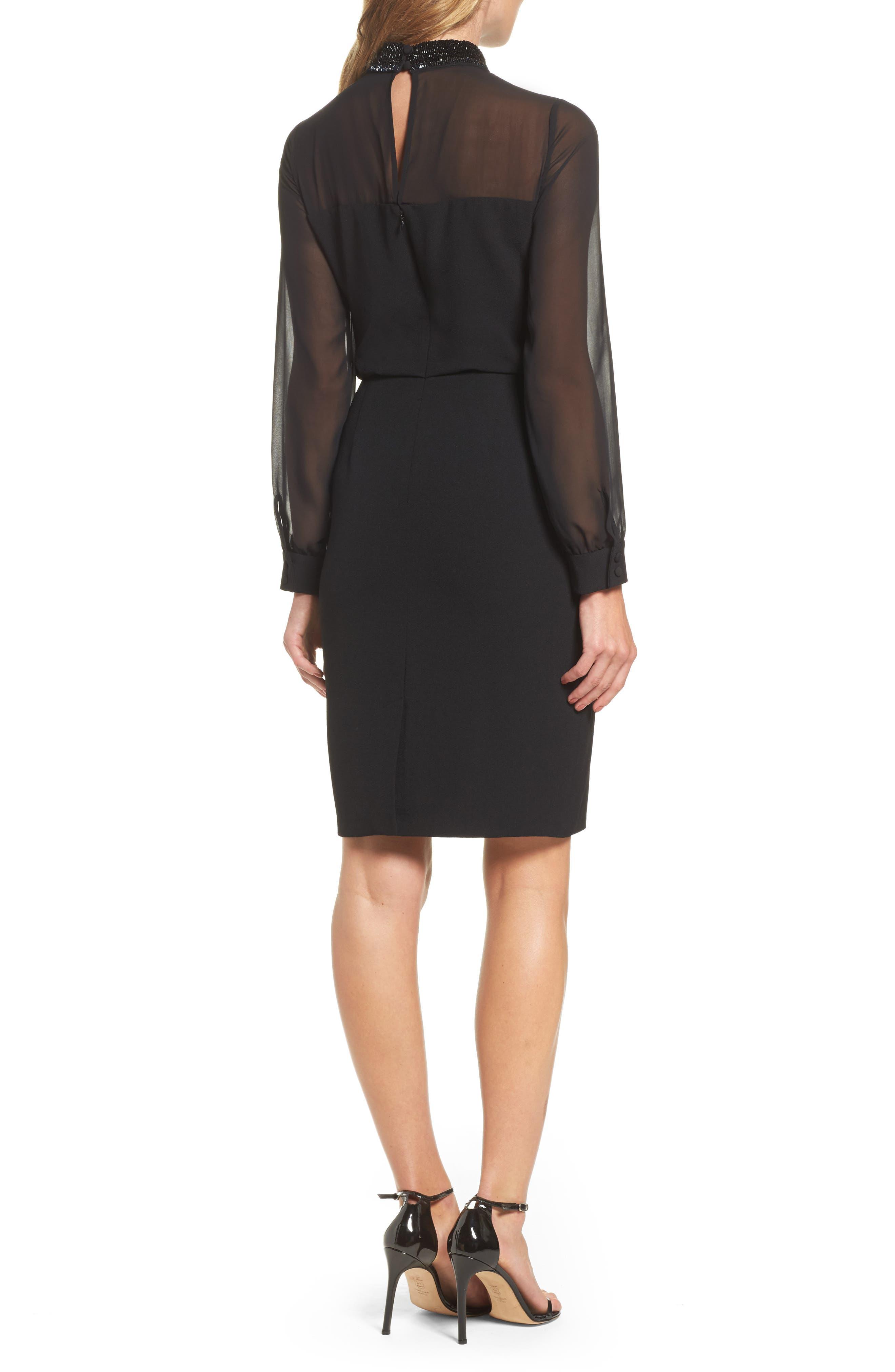 Jewel Neck Sheath Dress,                             Alternate thumbnail 2, color,                             002