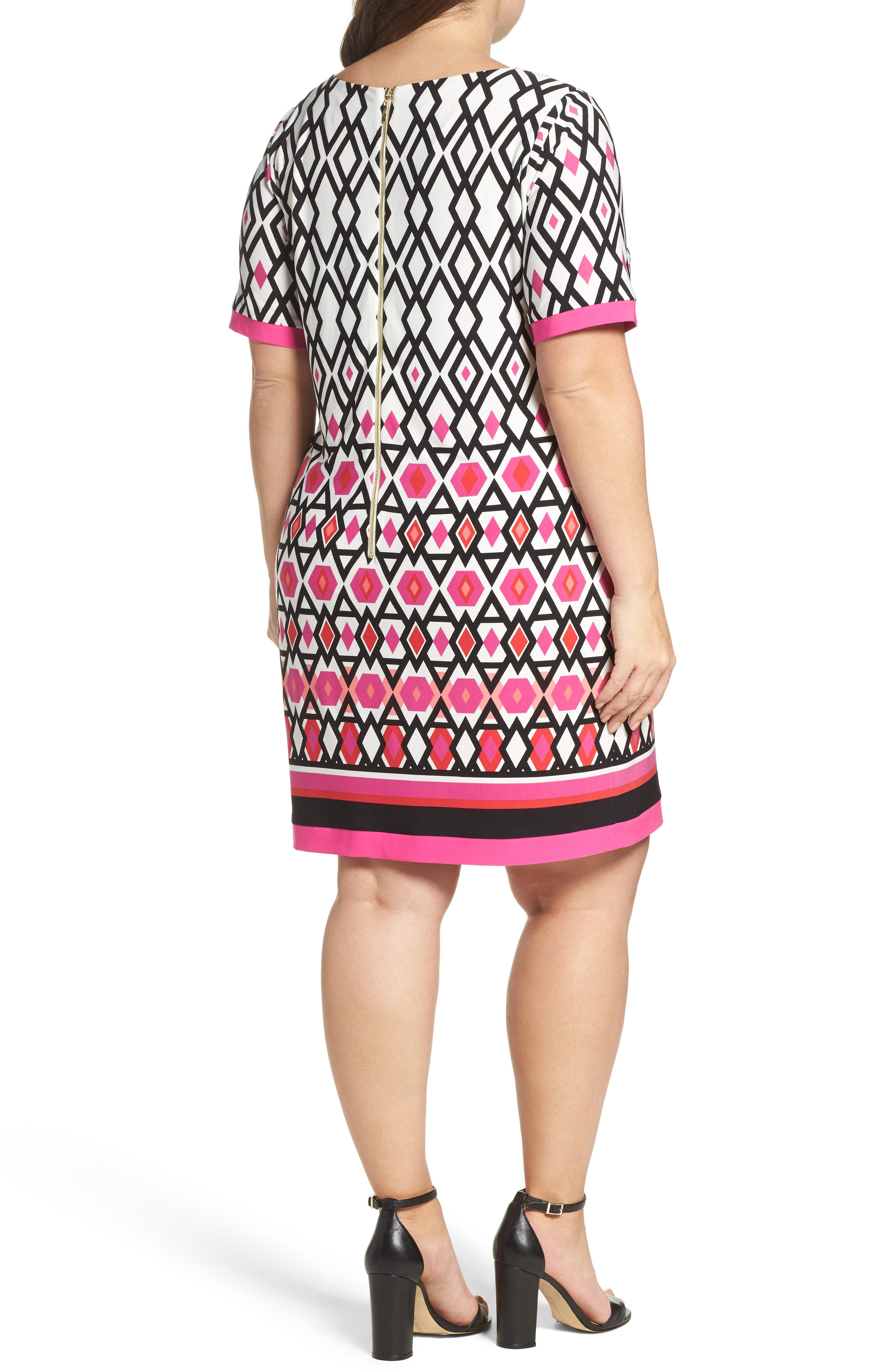 Graphic Print Shift Dress,                             Alternate thumbnail 2, color,                             660