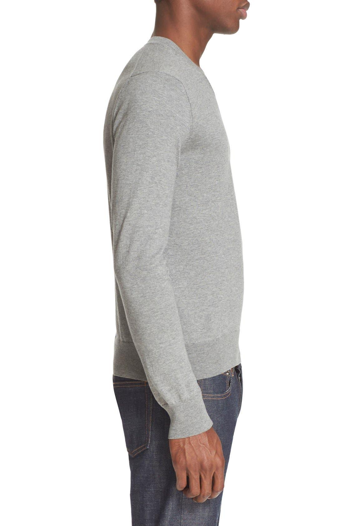 V-Neck Cotton Pullover,                             Alternate thumbnail 3, color,                             020