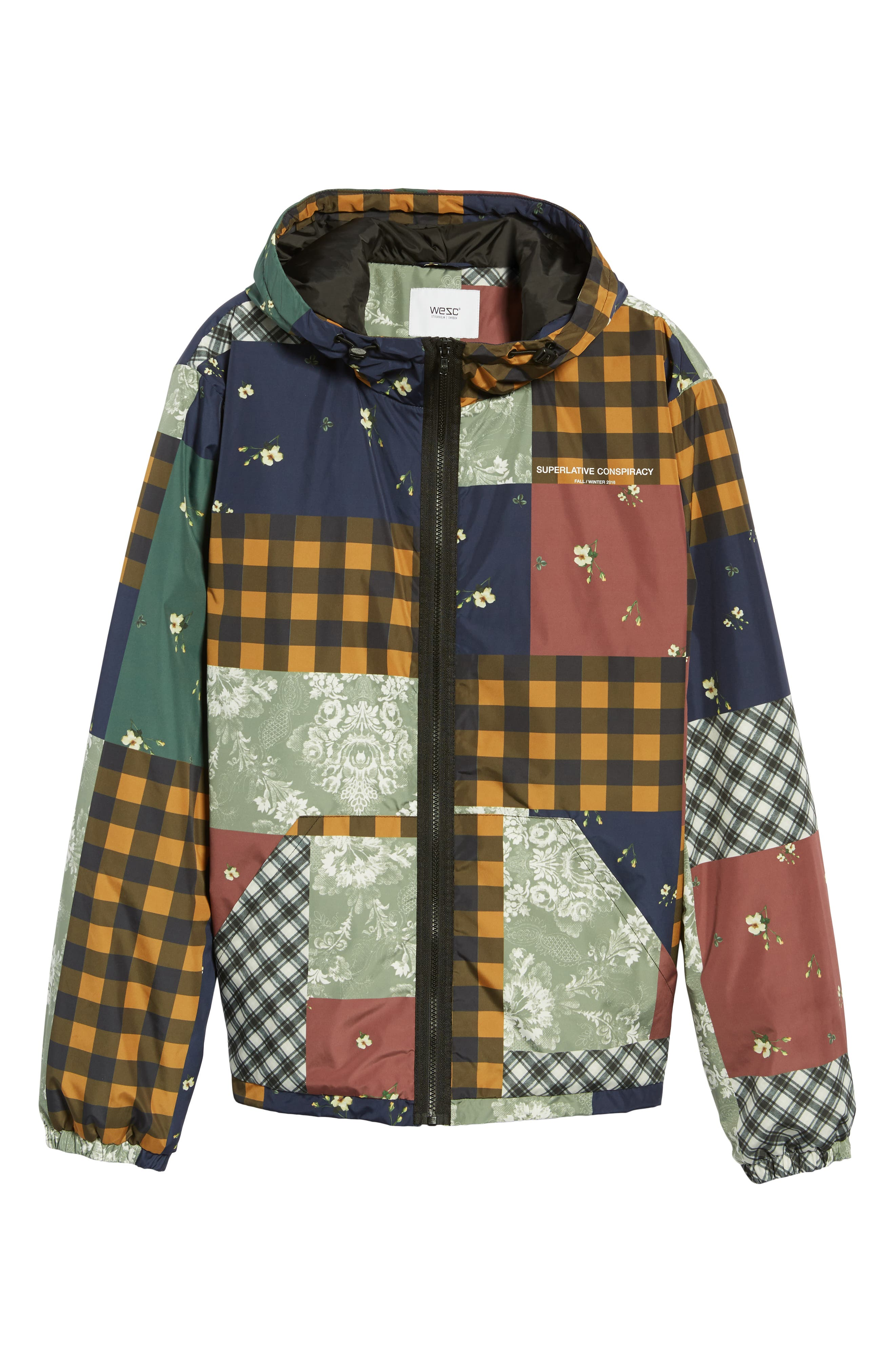 WESC,                             Patchwork Print Windbreaker,                             Alternate thumbnail 5, color,                             400