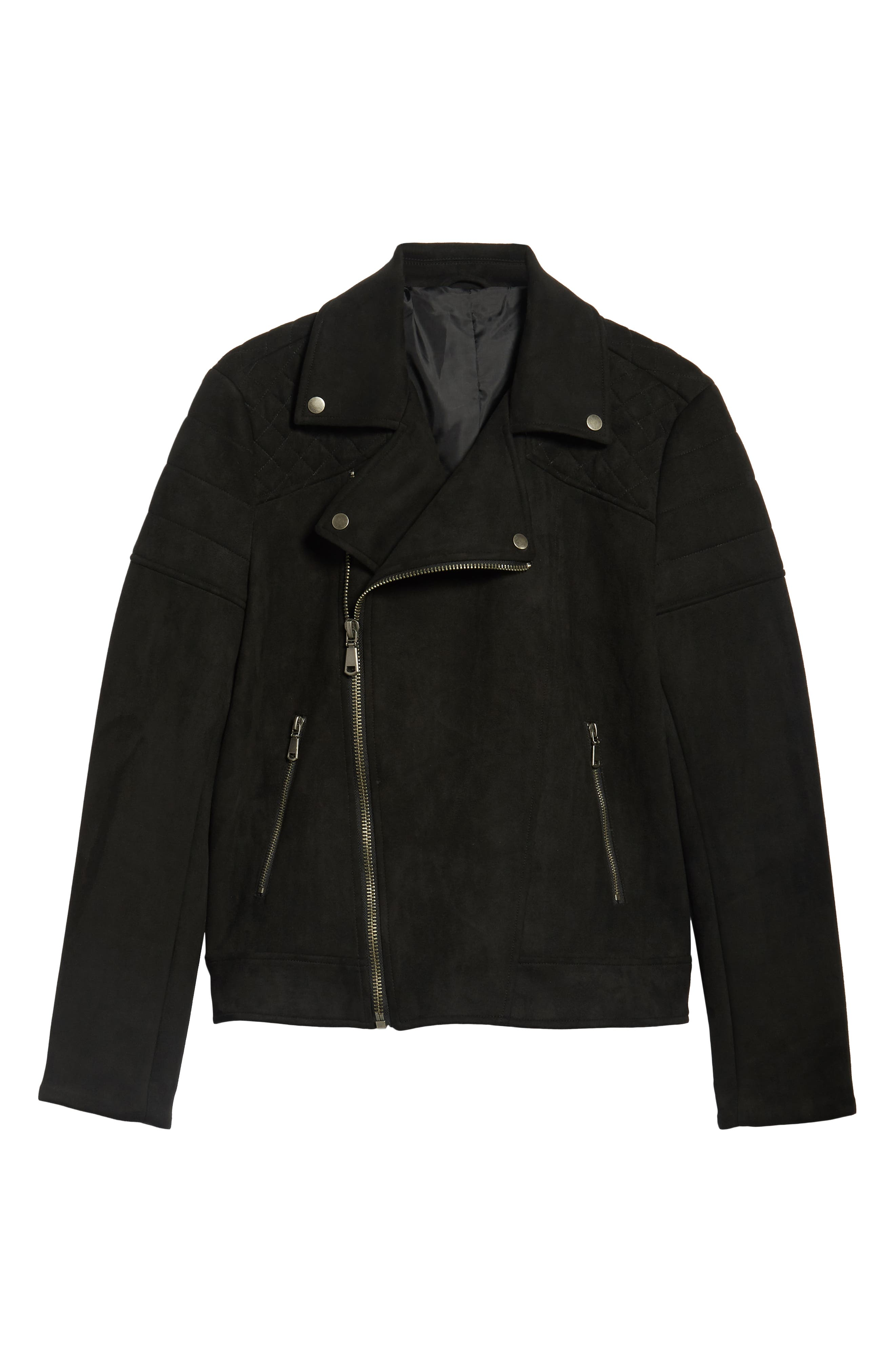 Faux Suede Biker Jacket,                             Alternate thumbnail 6, color,                             BLACK