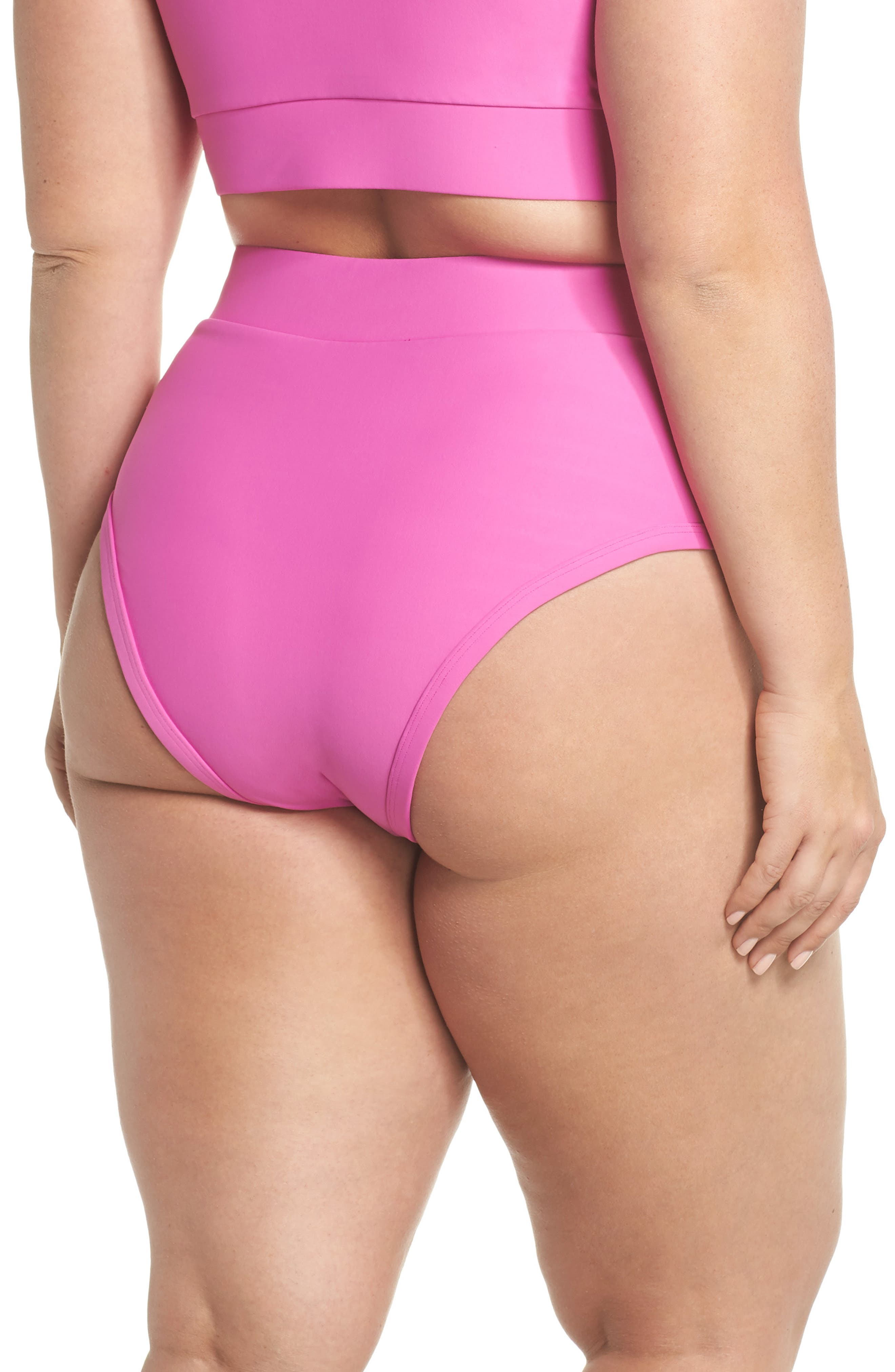 Lover High Waist Bikini Bottoms,                             Alternate thumbnail 2, color,                             MAGENTA