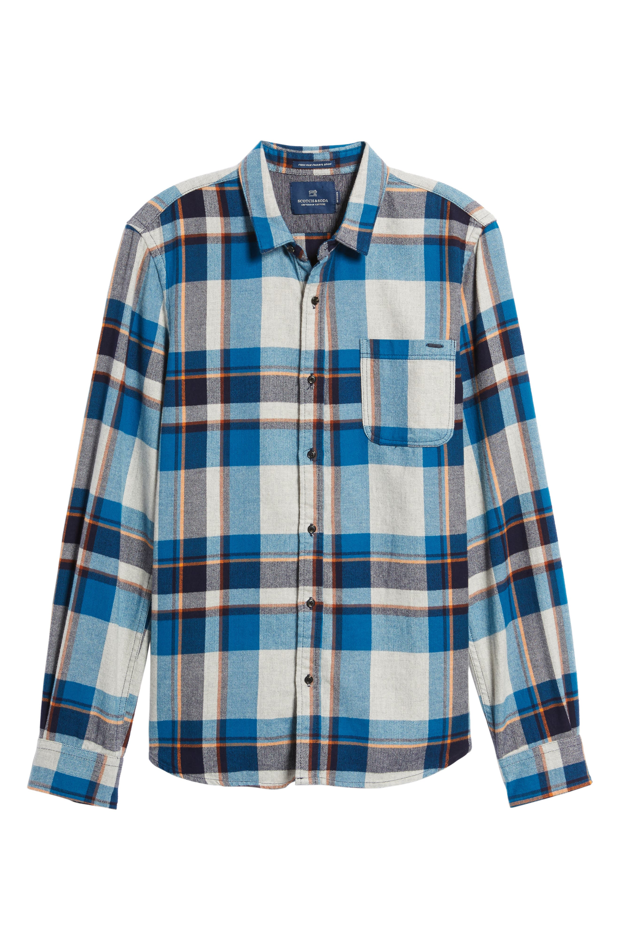 Brushed Flannel Plaid Shirt,                             Alternate thumbnail 6, color,                             111