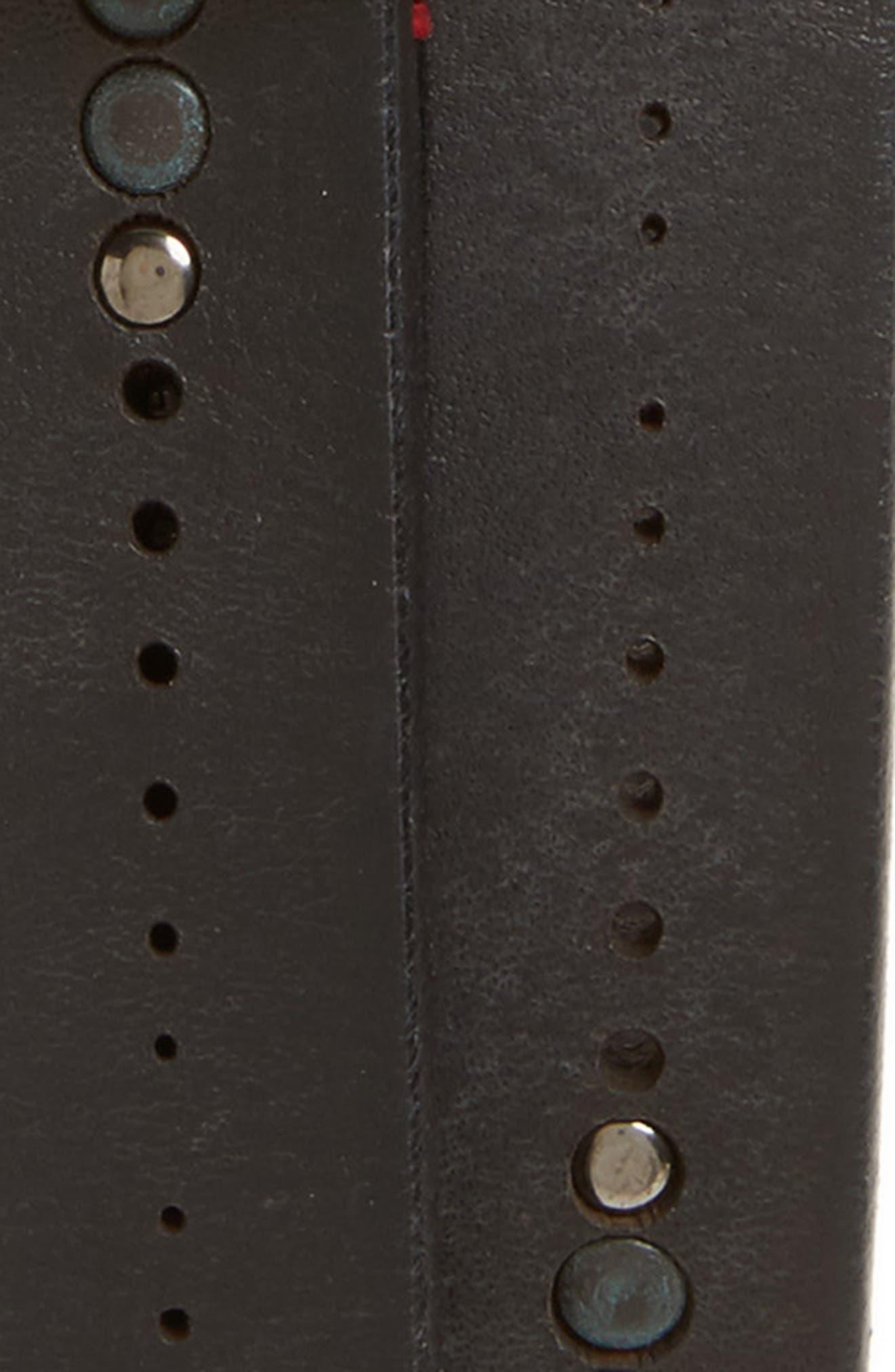 Studded Leather Belt,                             Alternate thumbnail 2, color,                             001