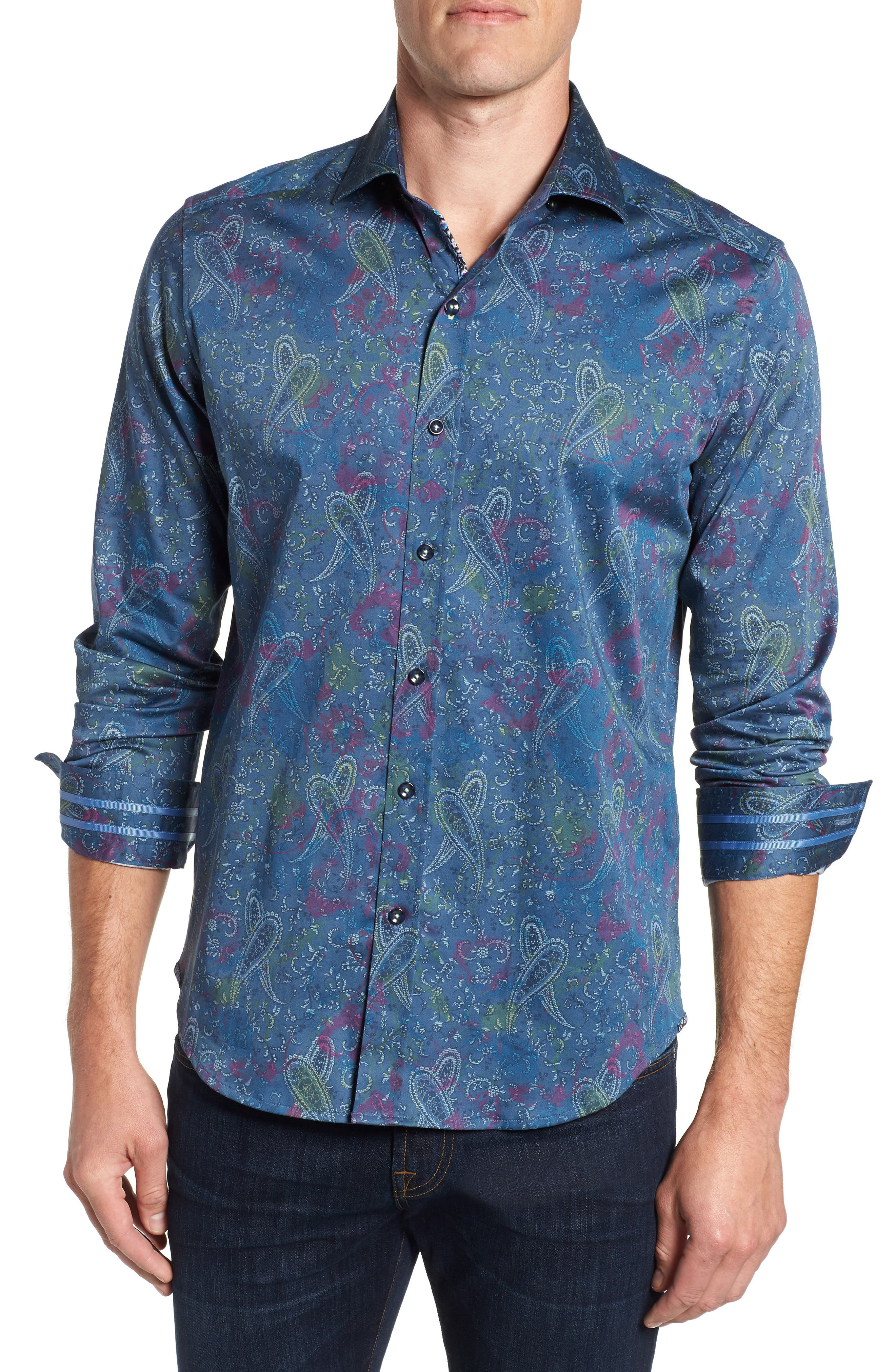 Carver Tailored Fit Sport Shirt,                         Main,                         color, BLUE