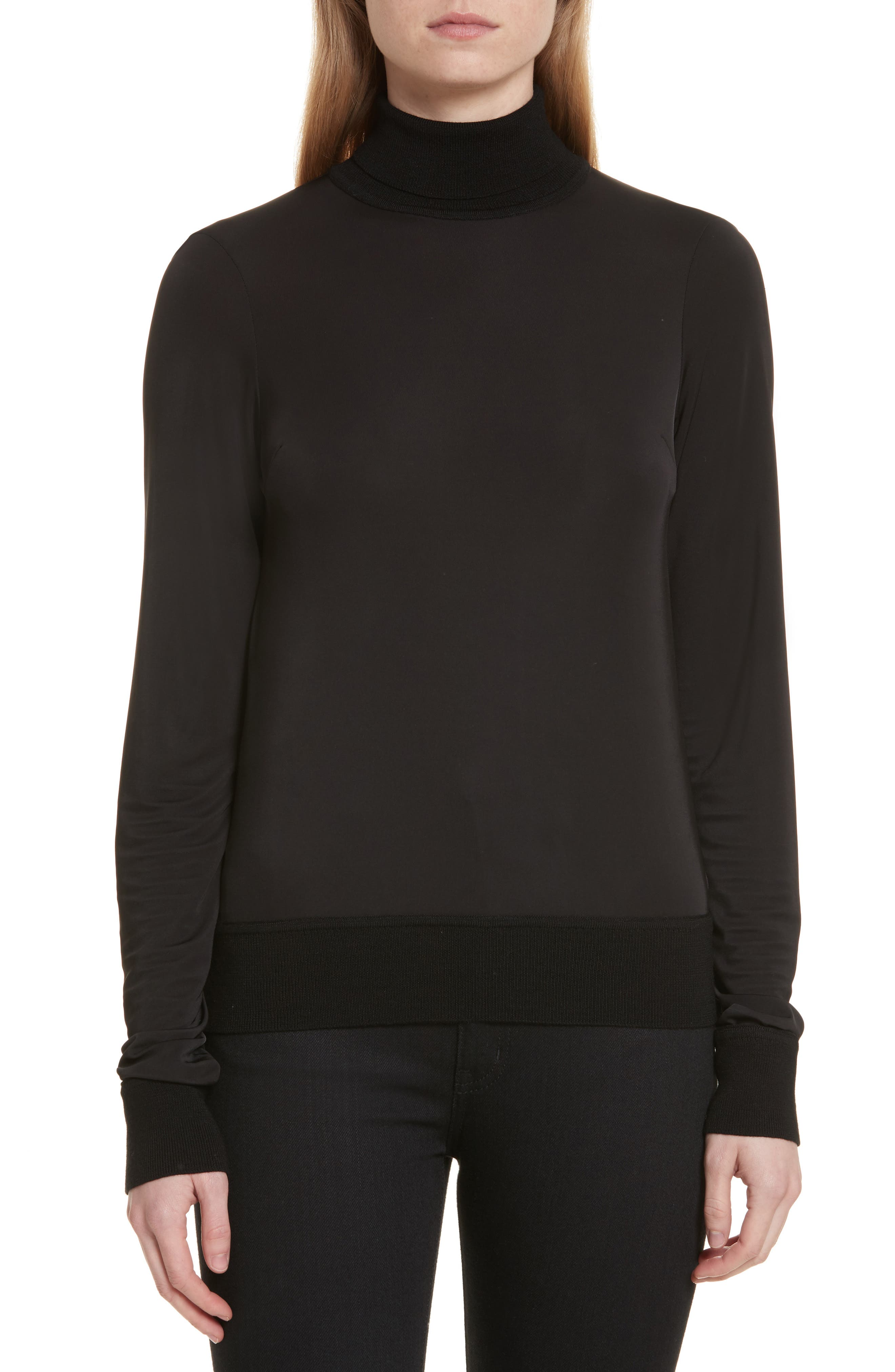 Merino Trim Turtleneck Sweater,                             Main thumbnail 1, color,                             001