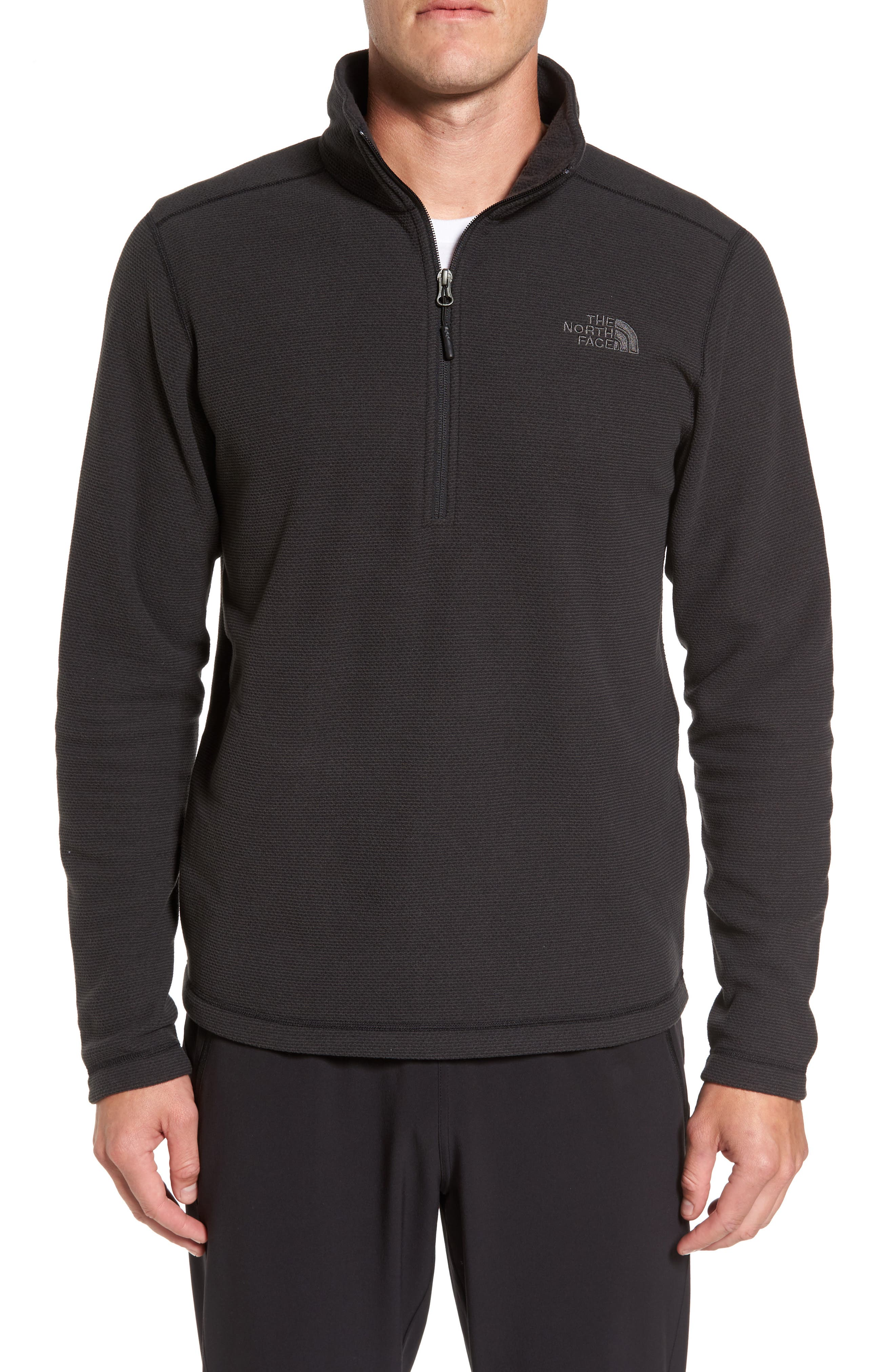 Texture Cap Rock Quarter Zip Fleece Jacket,                         Main,                         color, TNF BLACK