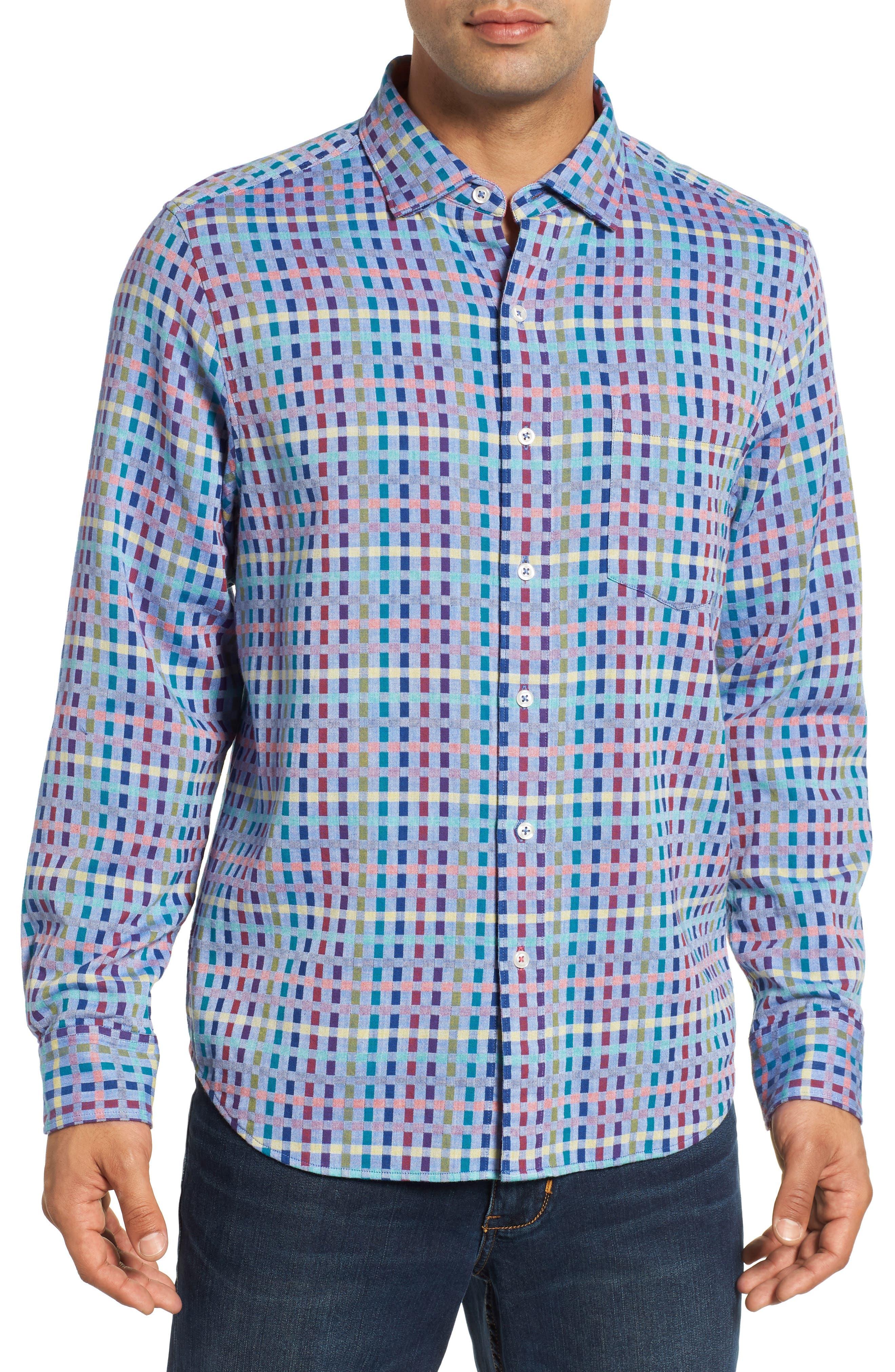 Prism Break Sport Shirt,                             Main thumbnail 1, color,                             DARK COBALT